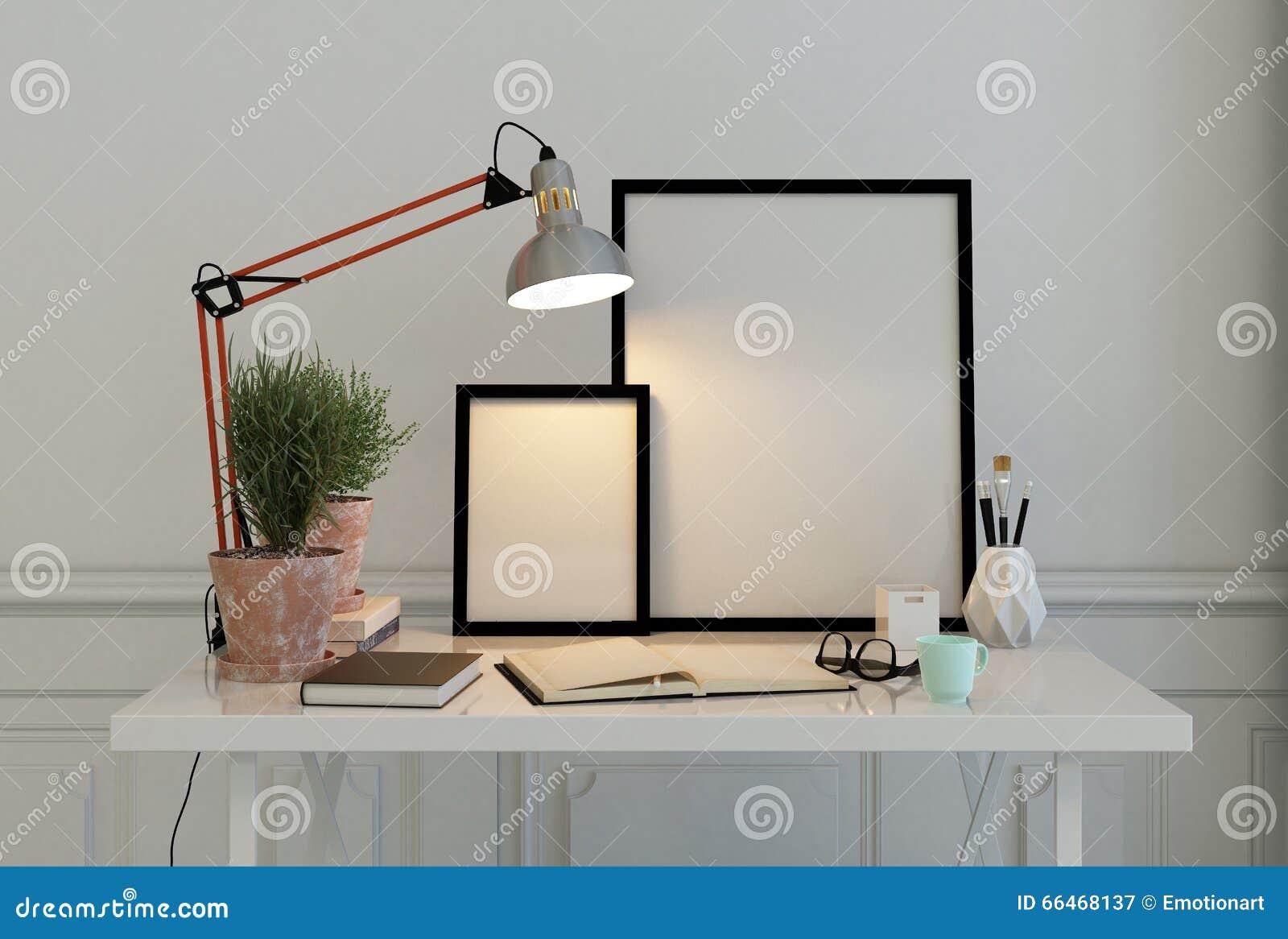Leere Bilderrahmen Auf Einem Schreibtisch Stockbild - Bild von stuhl ...