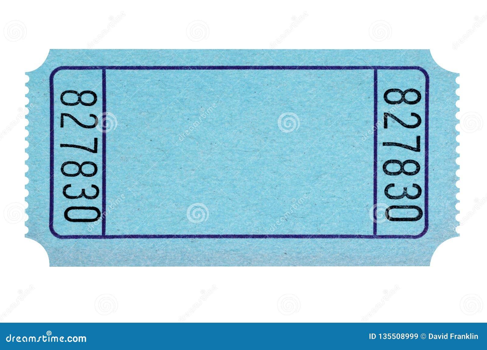 Leere blaue Lotteriekarte lokalisiert auf weißem einfachem herausgeschnitten