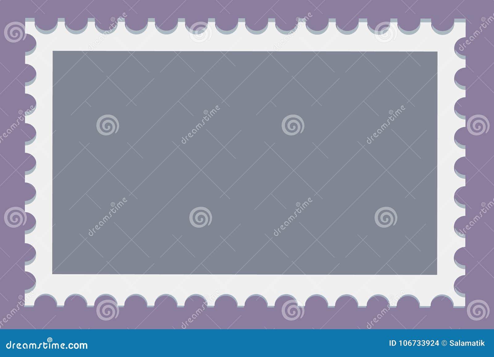 Leere Briefmarkeschablone stellte auf dunklen Hintergrund ein RechteckBriefmarken für Umschläge, Postkarten Vektor