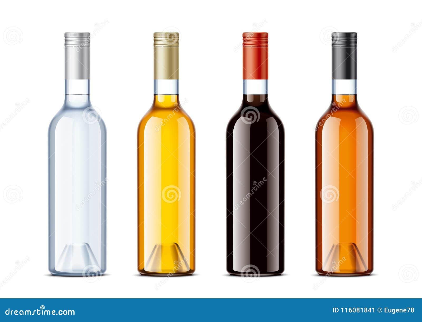 Leere Flaschen Für Alkoholgetränke Vektor Abbildung - Illustration ...