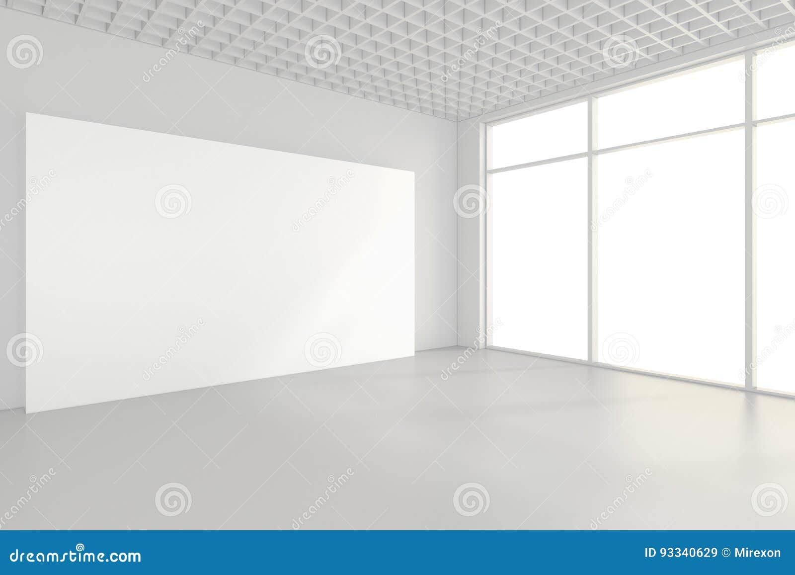 Leere InnenAnschlagtafeln, die auf Boden im Reinraum stehen Wiedergabe 3d
