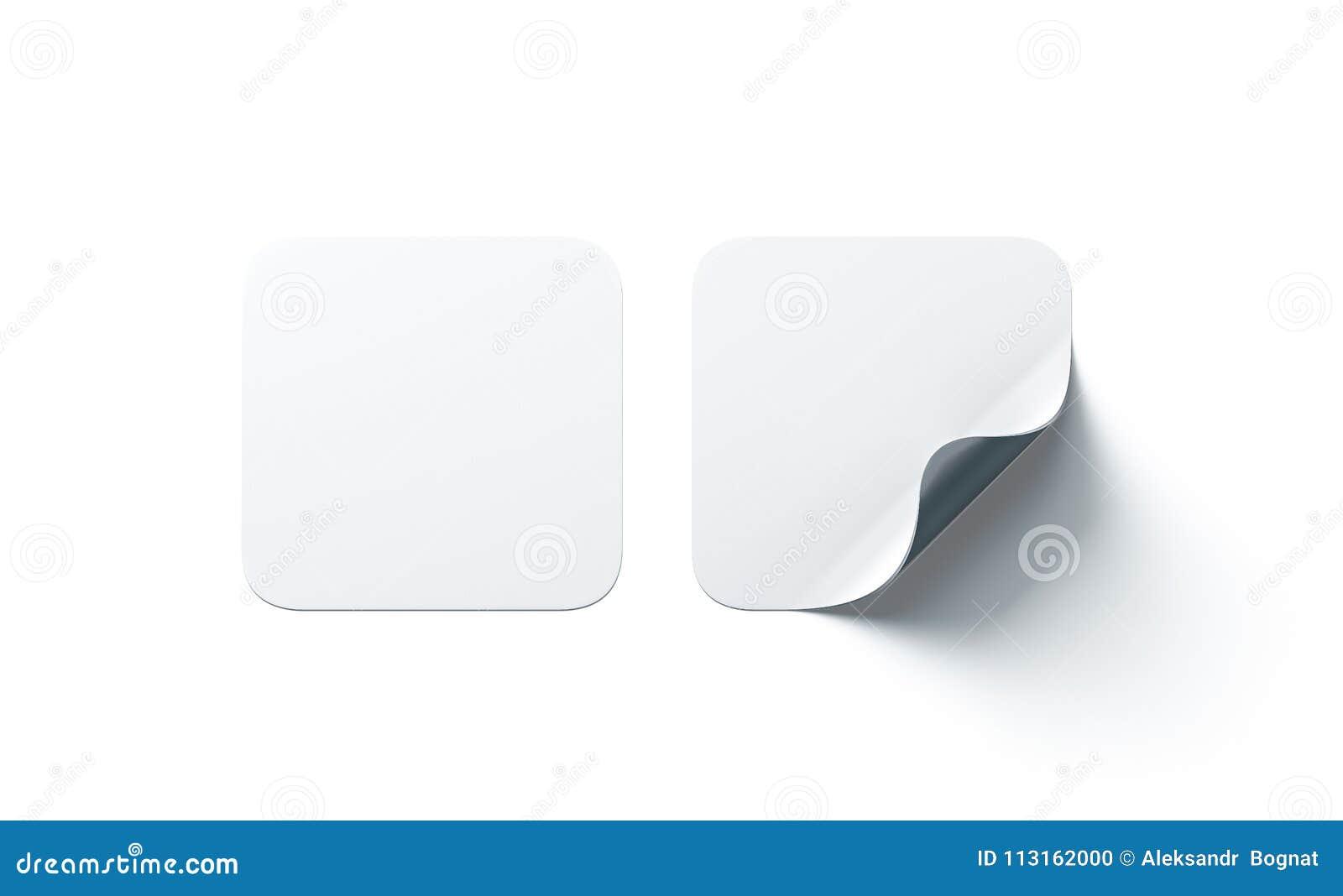 Leere klebende Aufkleber des weißen Quadrats verspotten oben mit gebogener Ecke