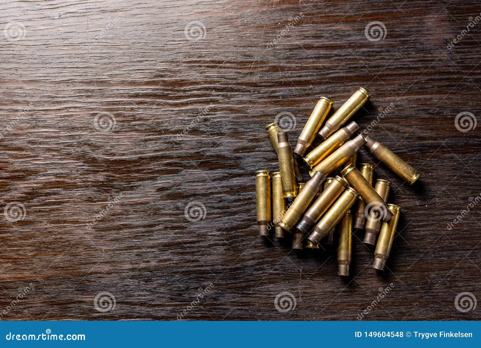 Leere Kugelgeh?use auf einer Dunkelheit, Holztisch
