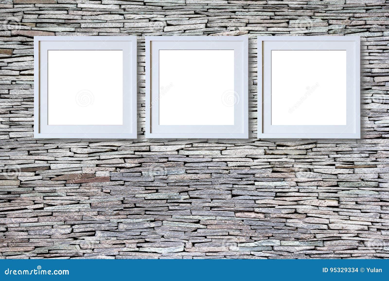 Leere Rahmen auf Steinwand stockfoto. Bild von bild, montage - 95329334