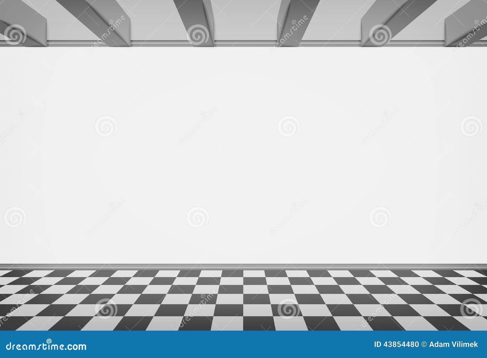 Leere Raumwand Mit überprüftem Gepflastertem Boden Vektor Abbildung ...