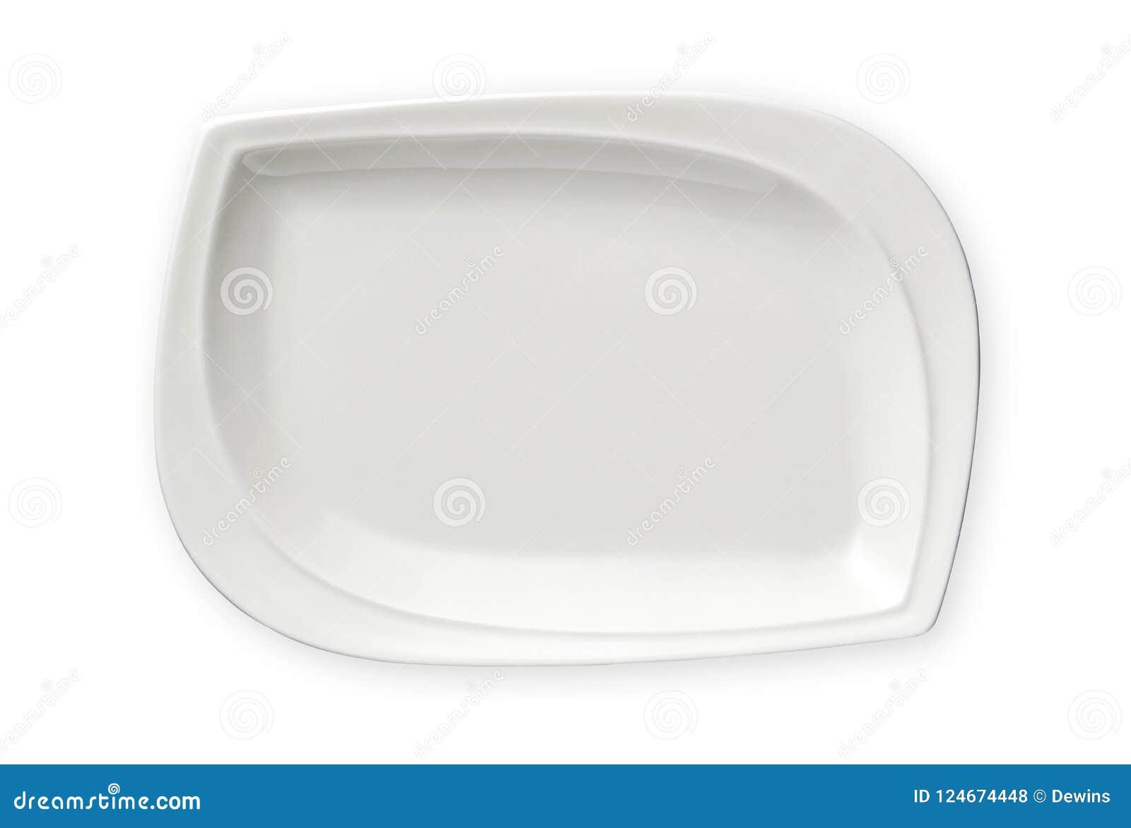 Leere rechteckige Platte, exotische weiße Platte, Ansicht von oben lokalisiert auf weißem Hintergrund mit Beschneidungspfad