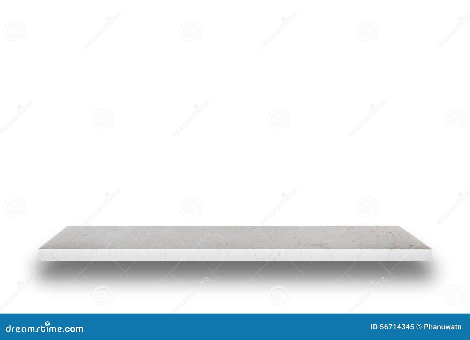 Leere Spitze der Natursteintabelle oder -zählers lokalisiert auf weißem Ba