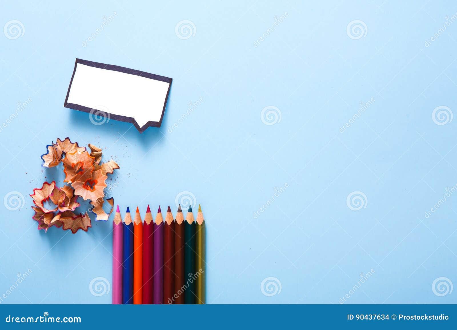 Leere Spracheblase Und Farbe Zeichnen Kreativität An Stockfoto