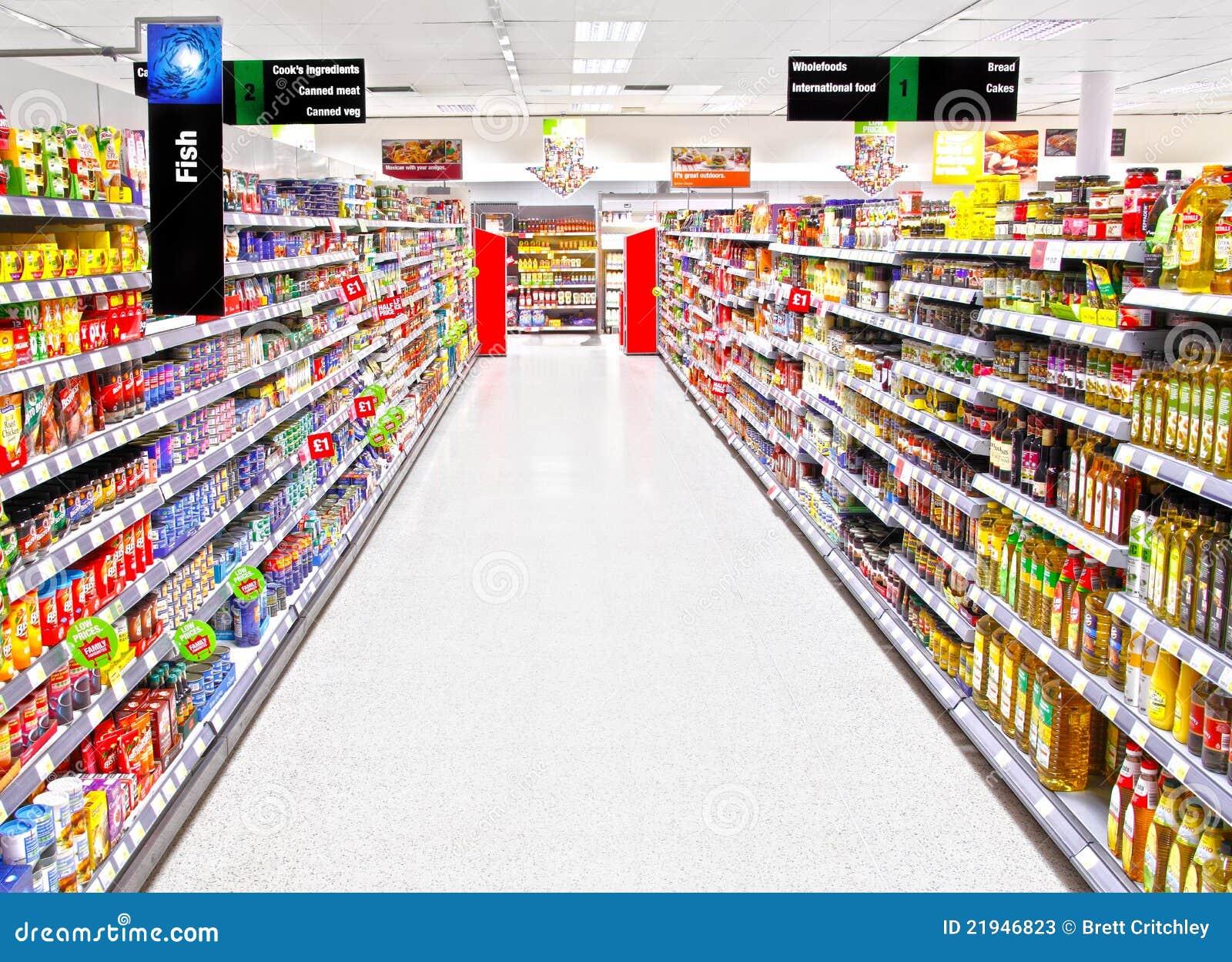 Leere Supermarkteinkaufeninsel