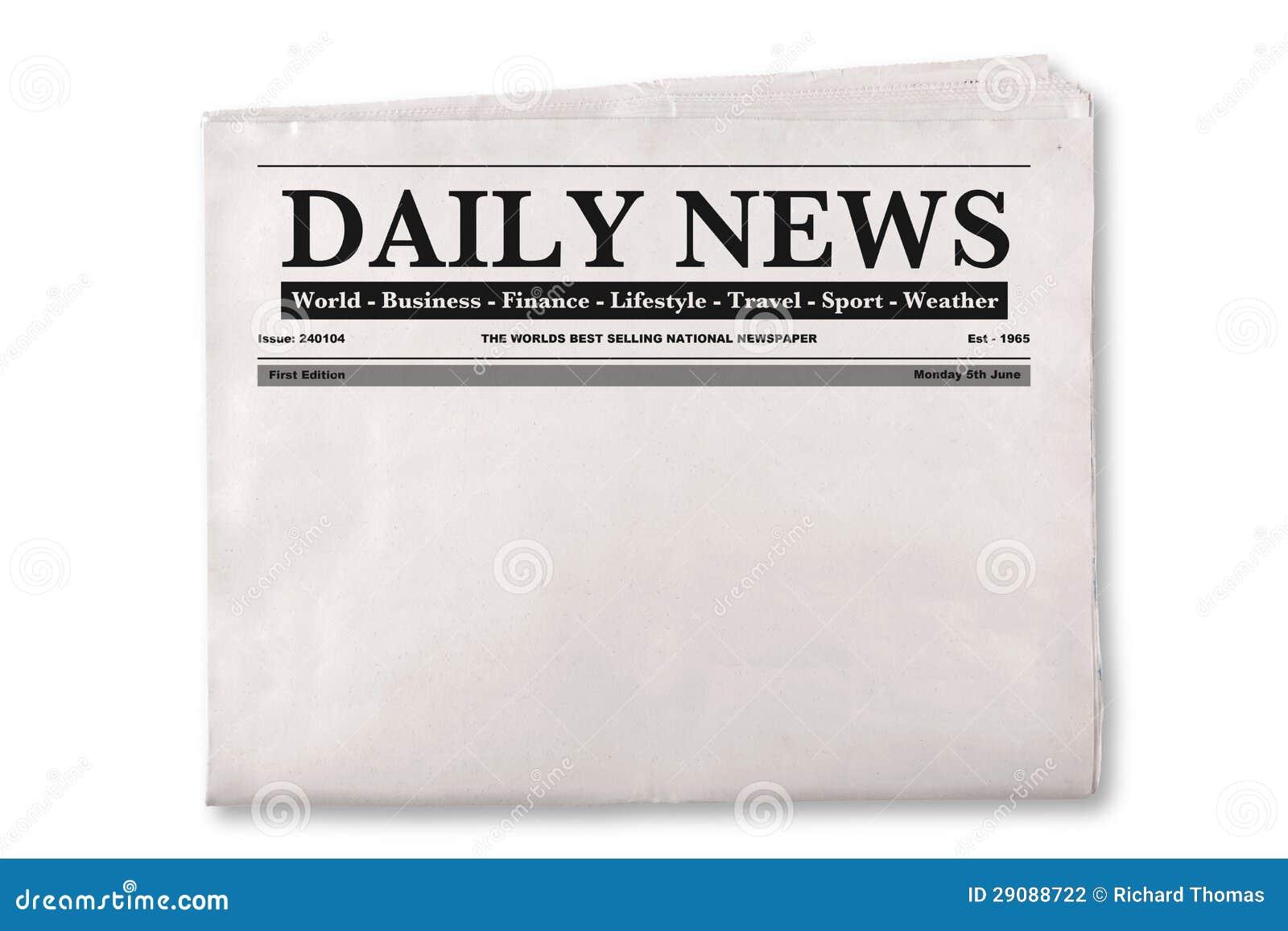 Leere Tageszeitung stockfoto. Bild von journalismus, papier - 29088722