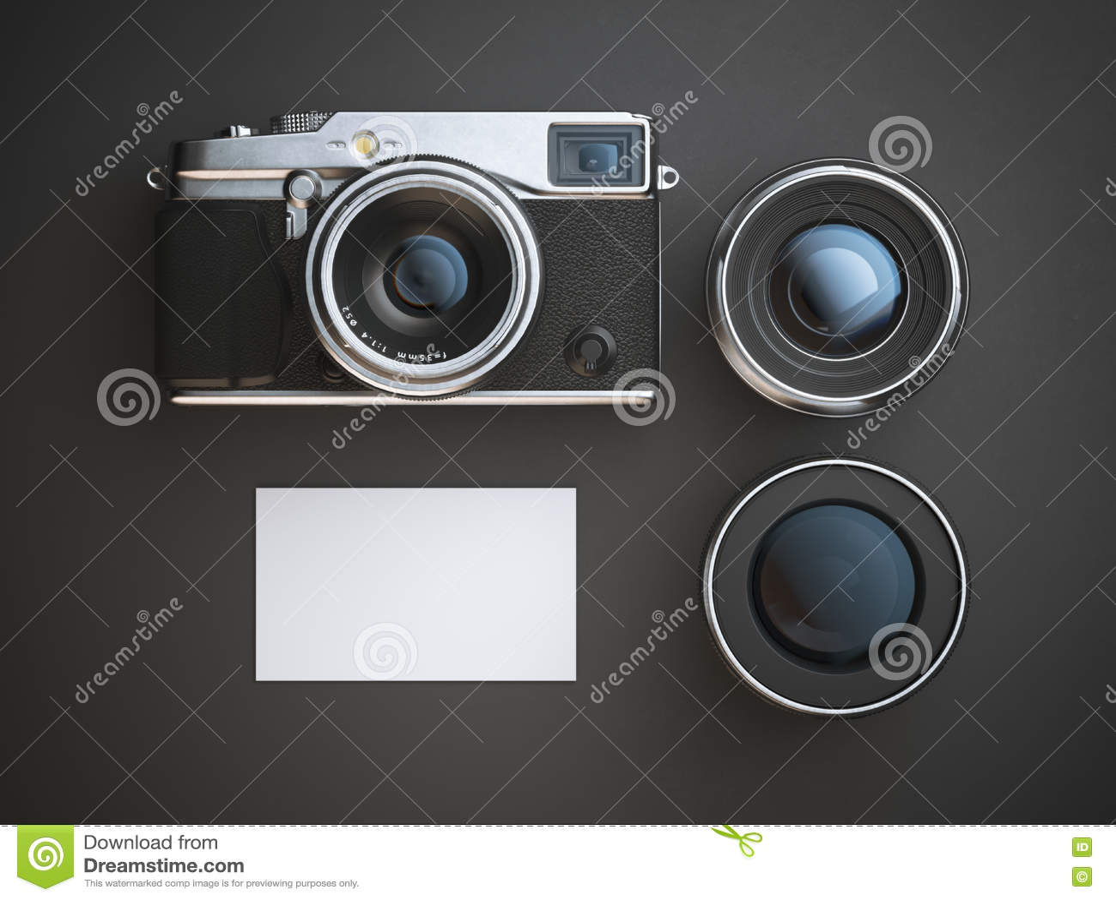 Leere Visitenkarte Mit Kamera Und Zwei Linsen Wiedergabe 3d