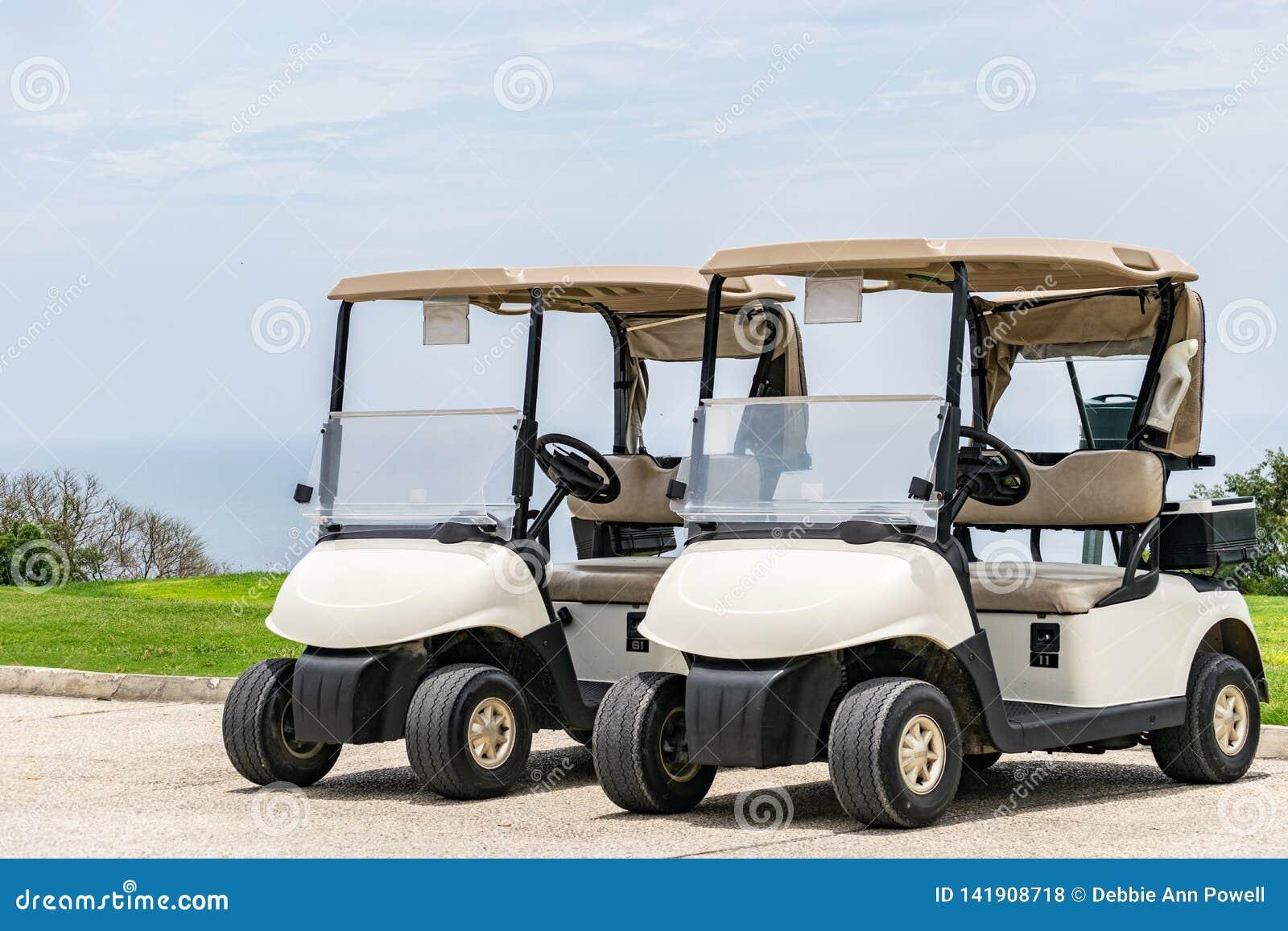 Leere wei?e Golfmobile nebeneinander geparkt