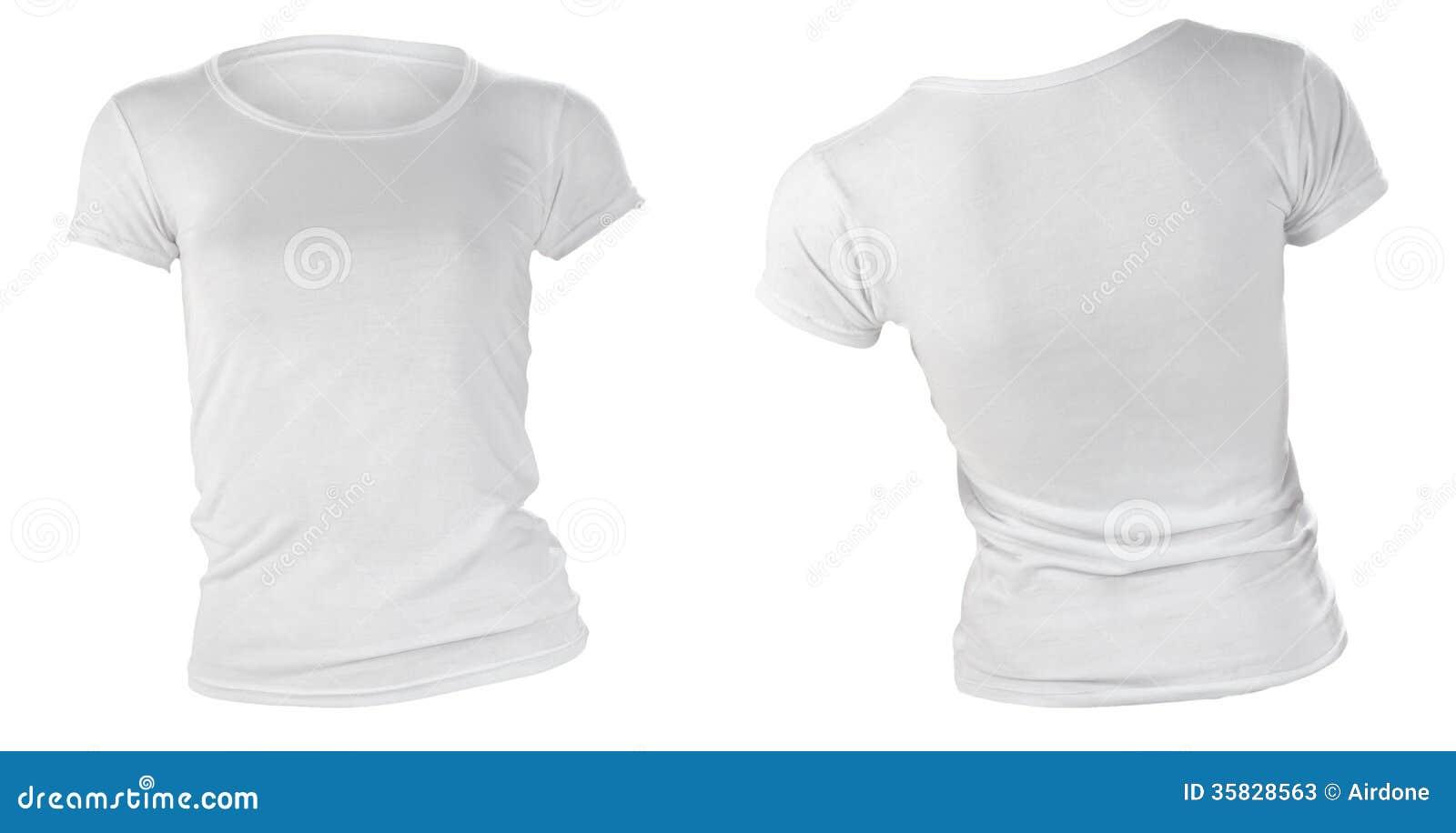 Leere Weiße Schablone Das T-Shirt Der Frauen Stockbild - Bild von ...