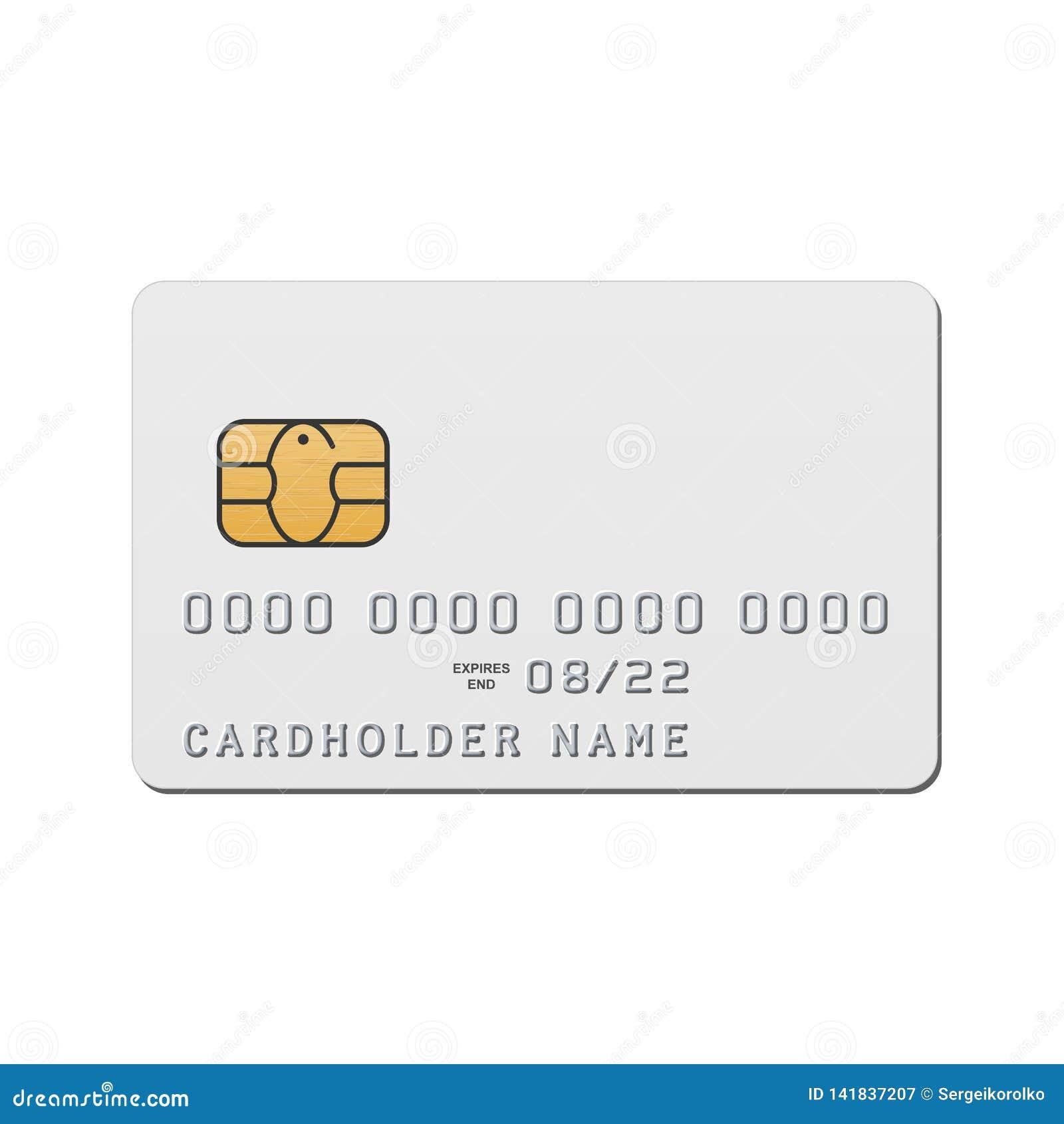 Leere weiße Kreditkarteschablone Vektormodell der Kreditkarte mit EMV-Chip
