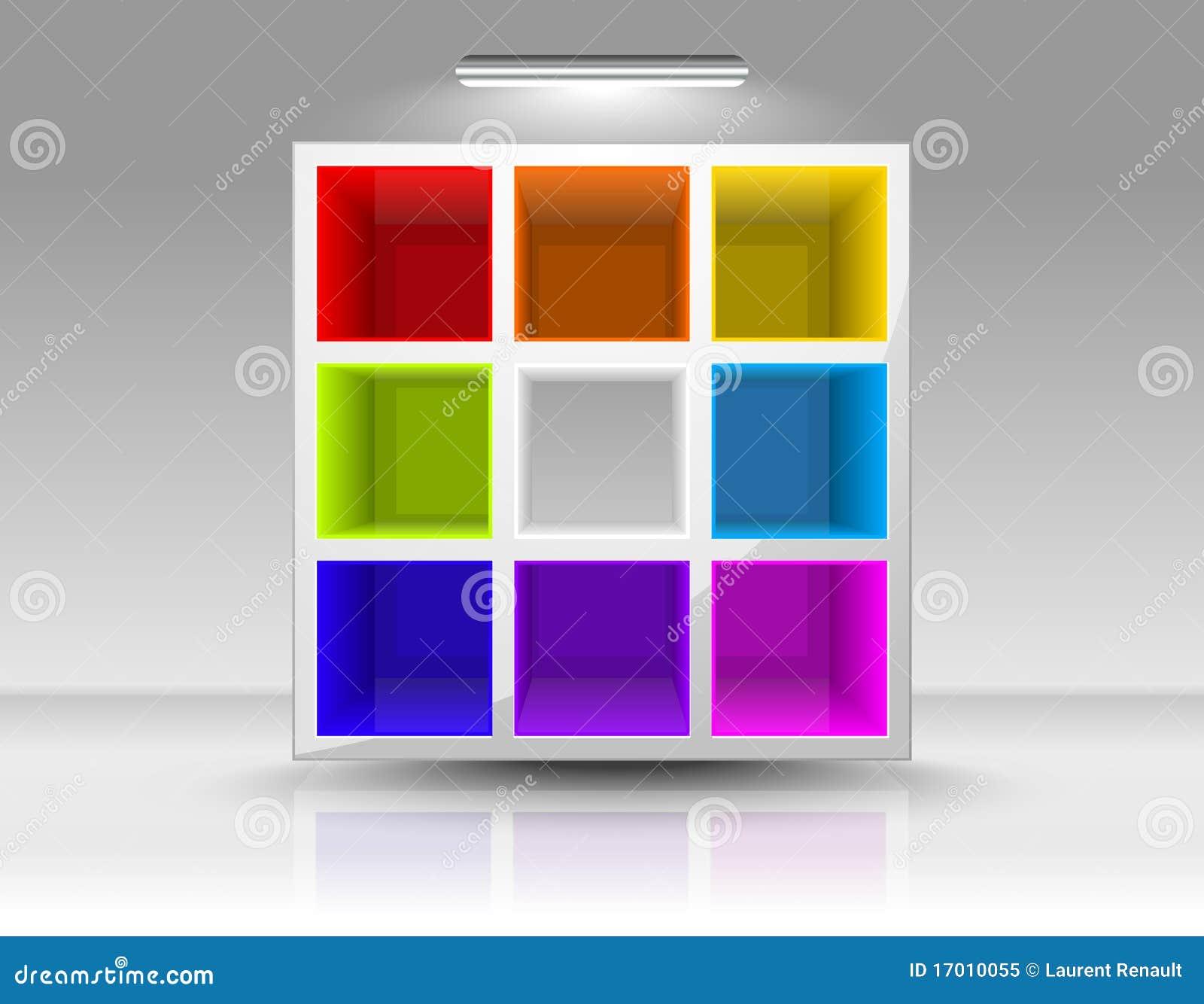 bücherregal farbig
