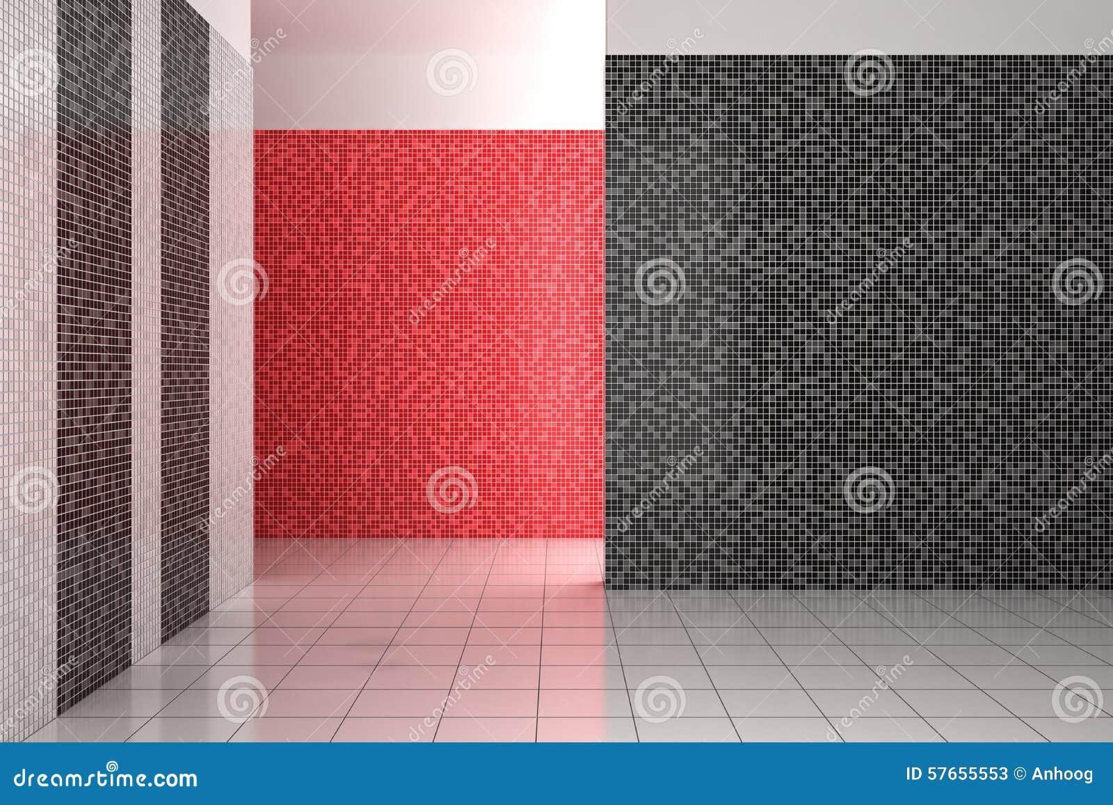 Leeren Sie Modernes Badezimmer Mit Den Schwarzen, Weißen Und ...