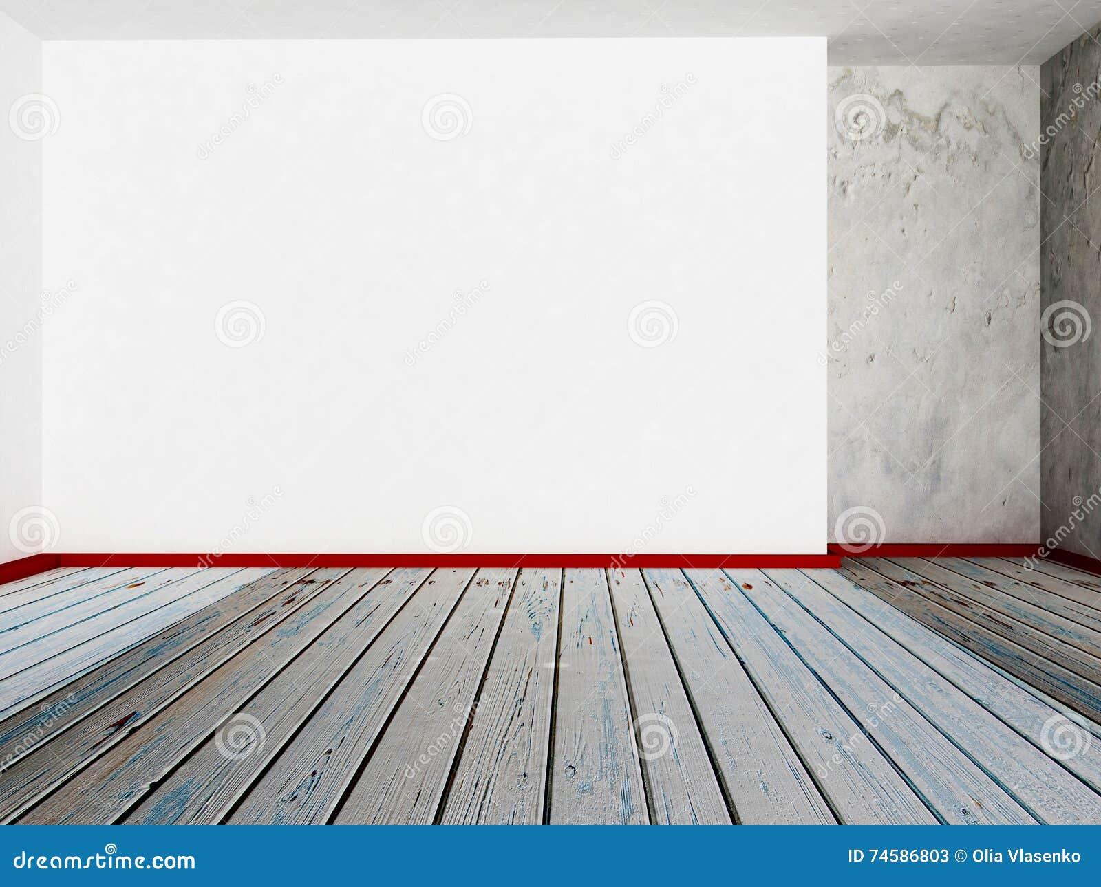 leeren sie weiße wand im raum, 3d stock abbildung - illustration von