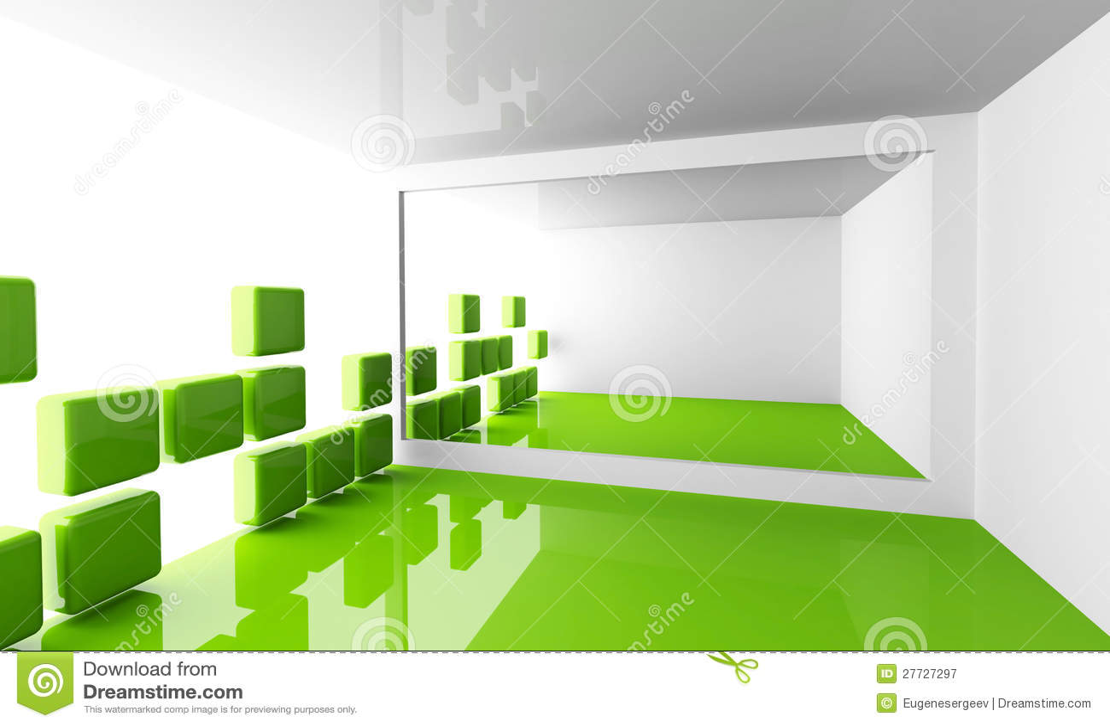 Leeren Sie weißen und grünen modernen Rauminnenraum