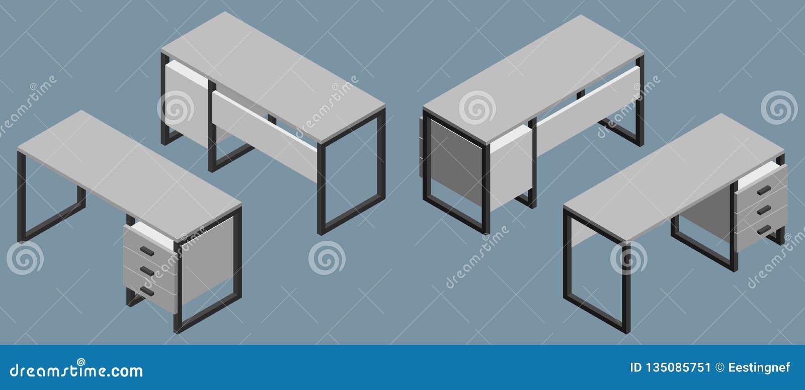 Leerer Büroschreibtisch Abbildung des Vektor 3d