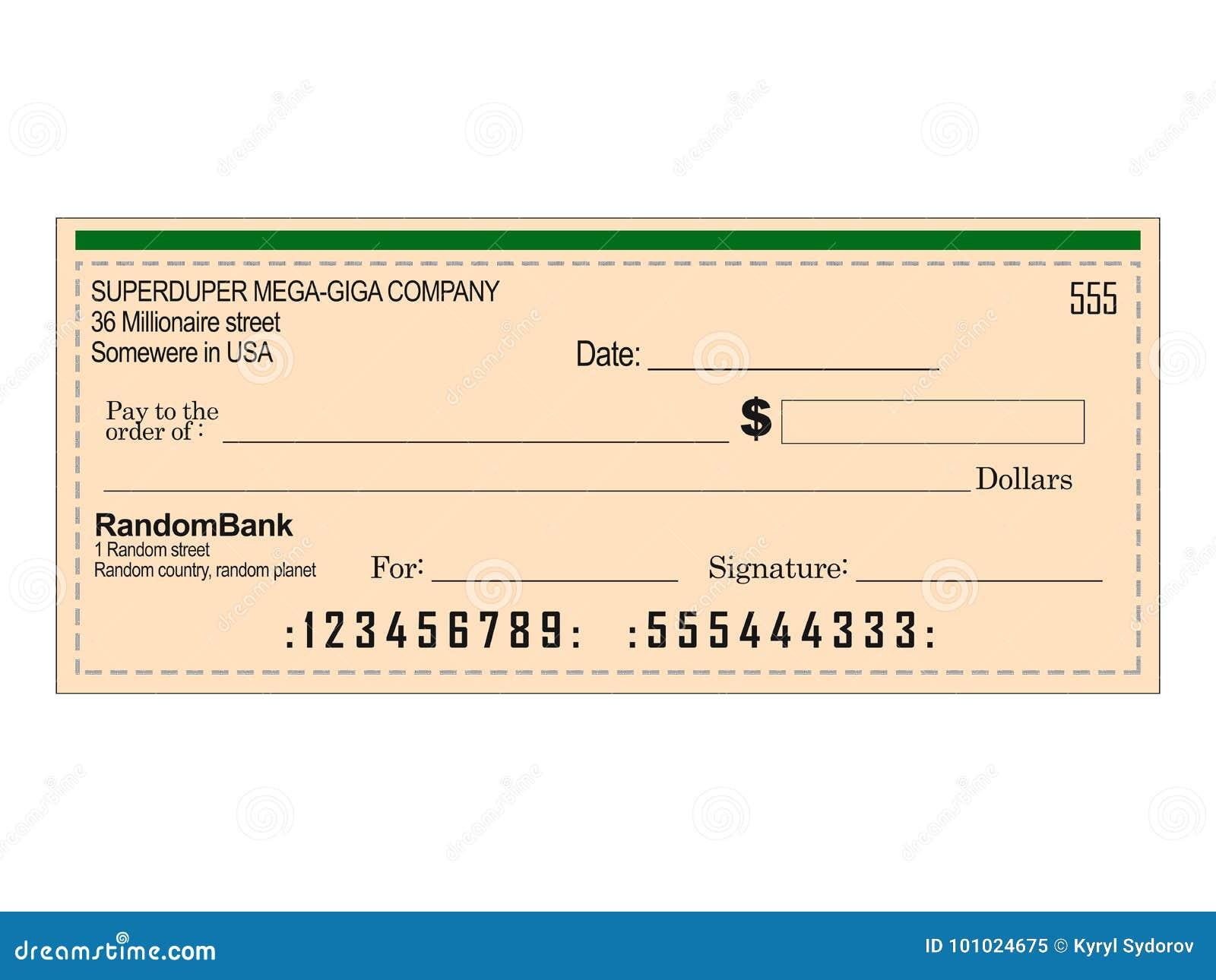 Leerer Bank-Scheck stockbild. Illustration von abbildung - 101024675