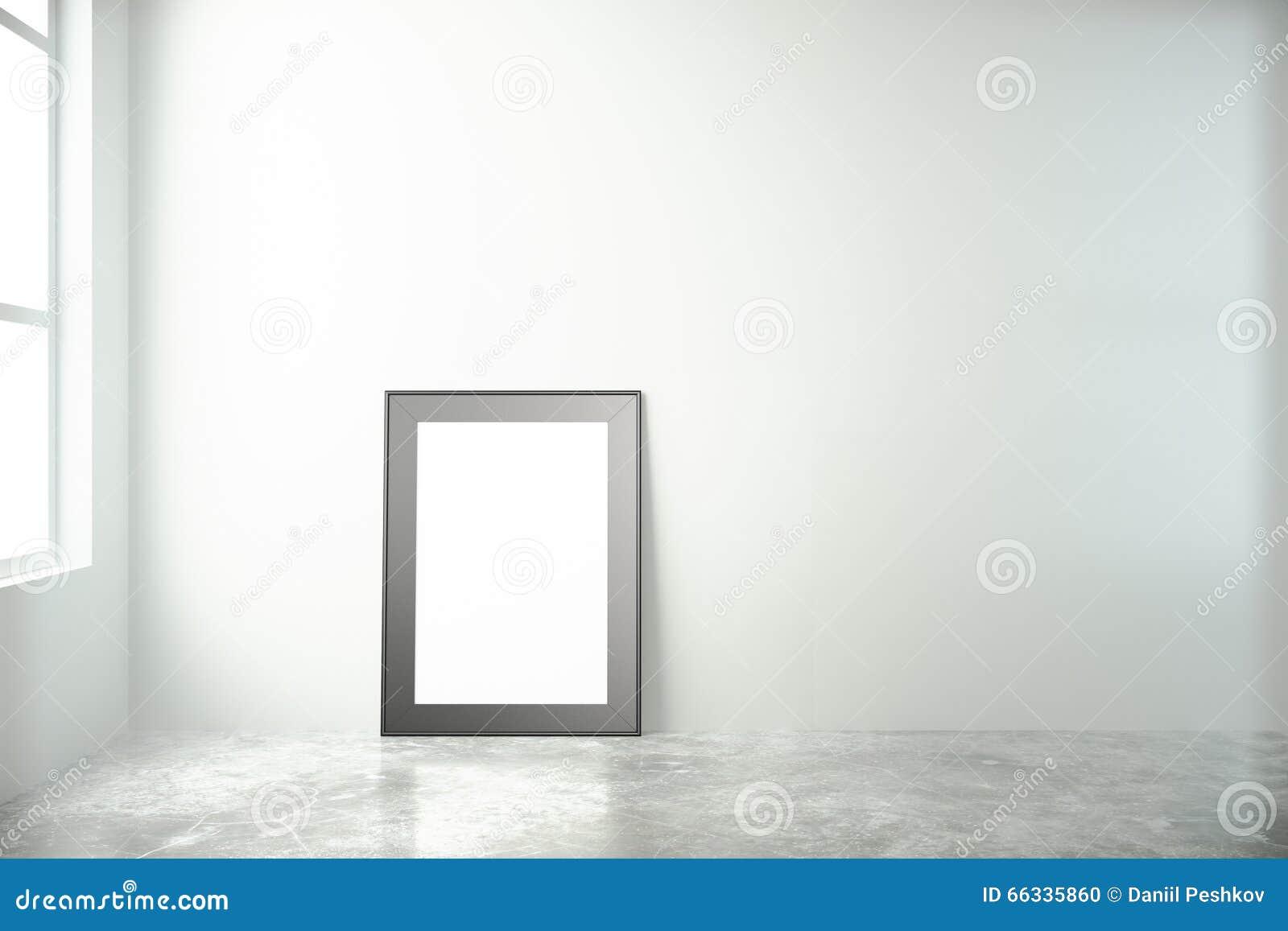 Leerer Bilderrahmen In Einem Reinraum Mit Fenster Und Konkretem Flo ...