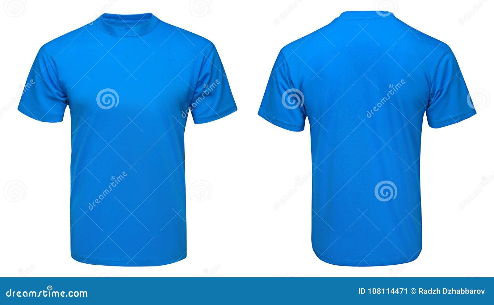 Leerer blauer T-Shirt Spott herauf Schablone, Front und hintere Ansicht, lokalisierte weißen Hintergrund