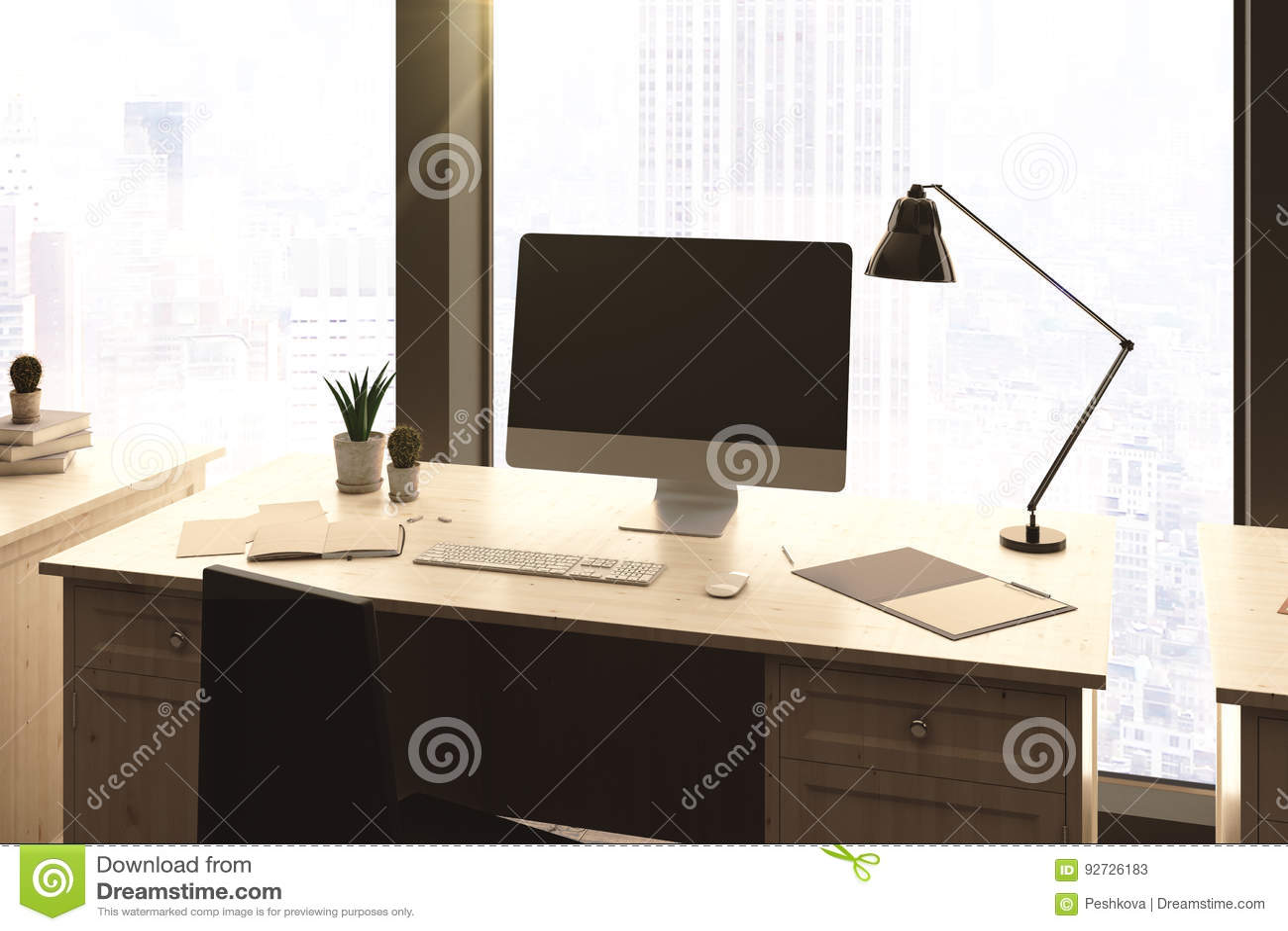 Leerer Computer Im Buro Stock Abbildung Illustration Von Buro 92726183
