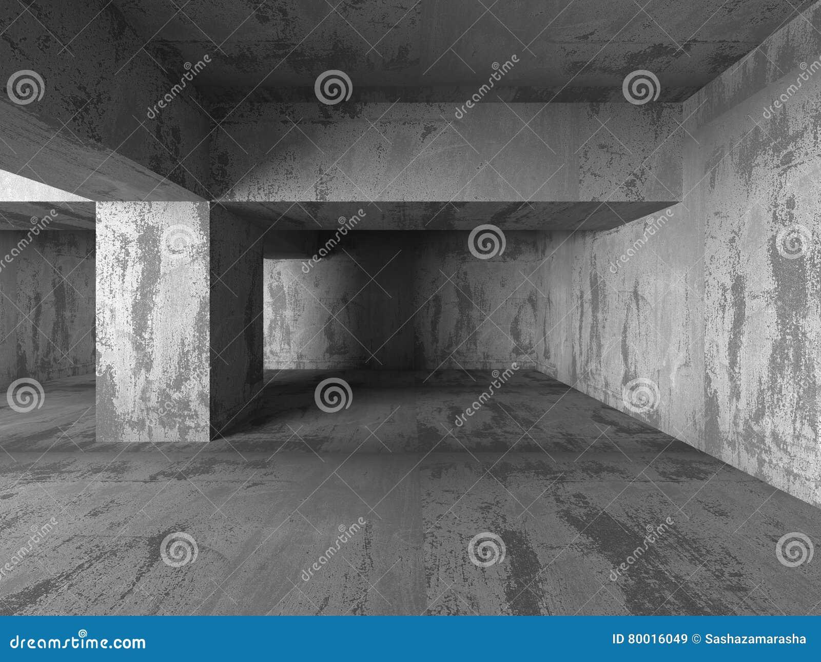 Leerer Dunkler Raum Betonmauern Abstraktes Architektur Backgroun