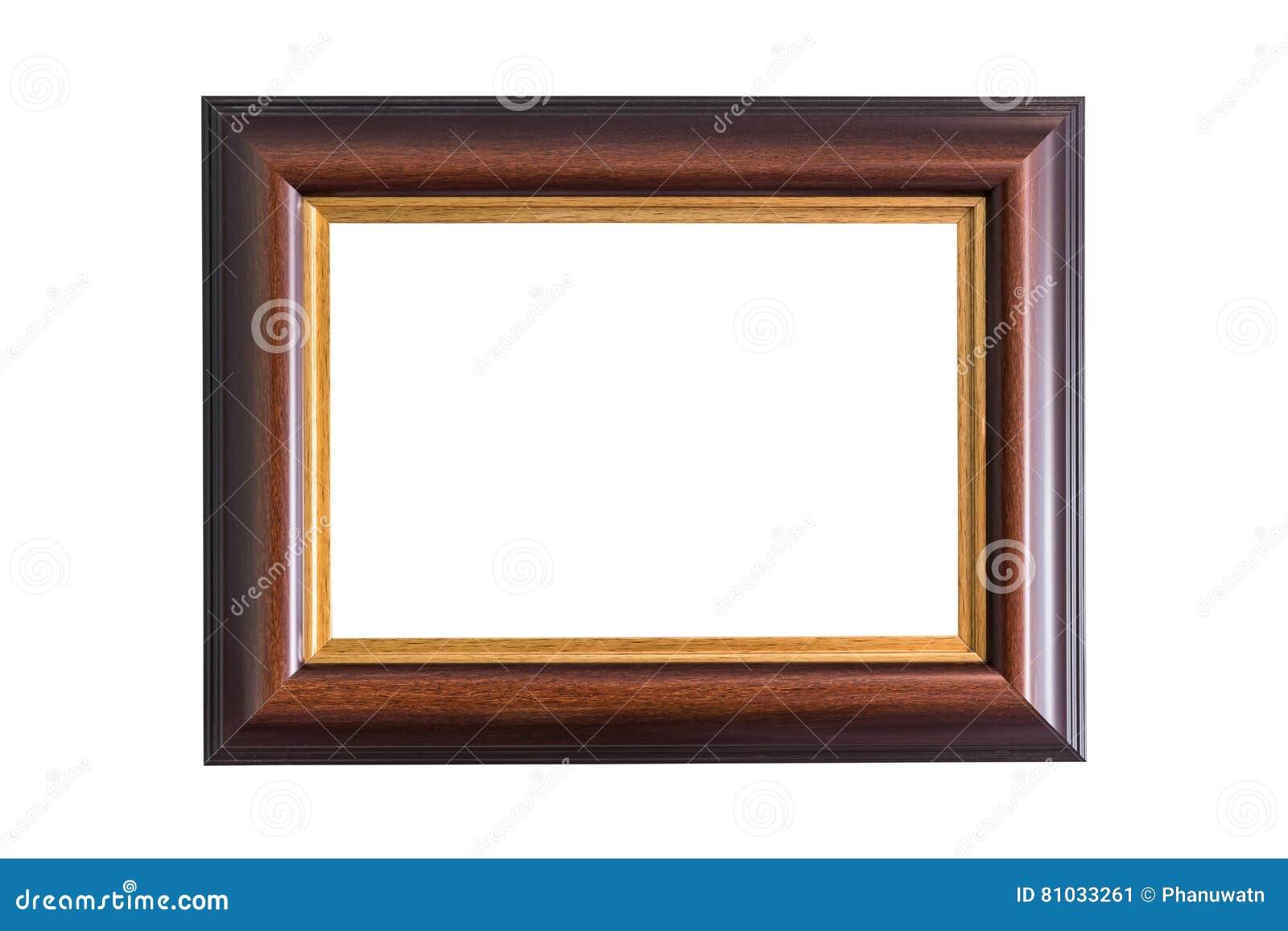 Leerer hölzerner Fotorahmen lokalisiert auf Weiß Weißer Hintergrund
