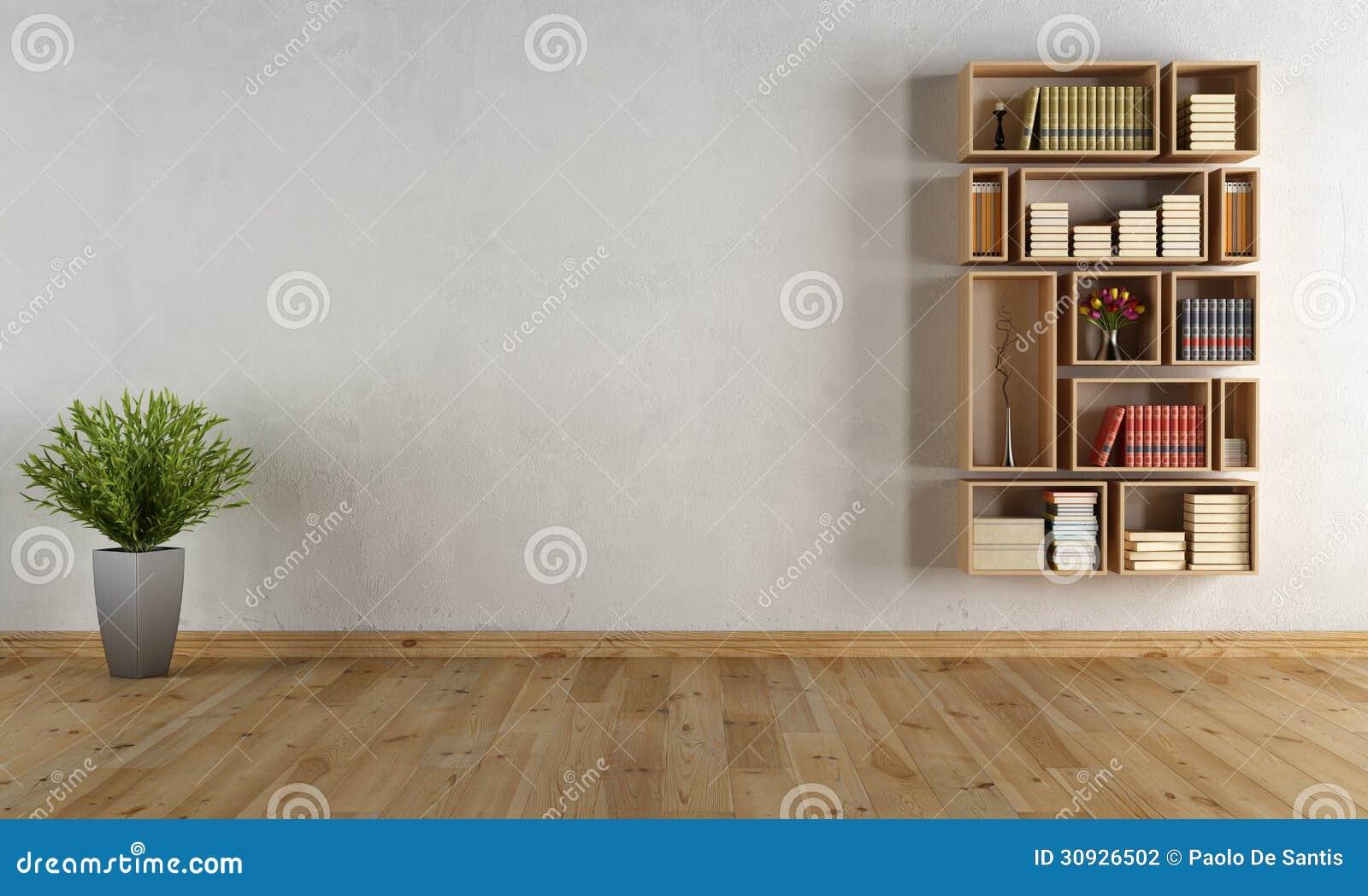 Leerer Innenraum mit Wandbücherschrank