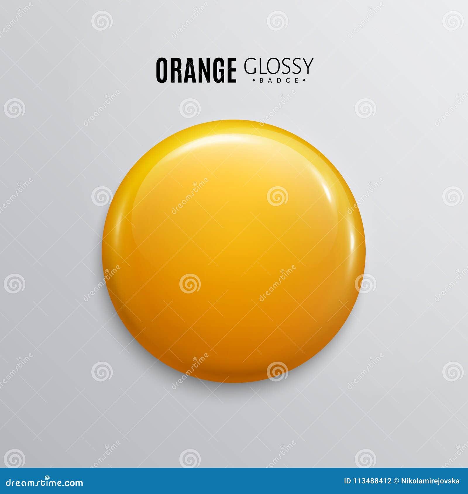 Leerer orange glatter Ausweis oder Knopf 3d übertragen Runder Plastikstift, Emblem, freiwilliger Aufkleber Vektor