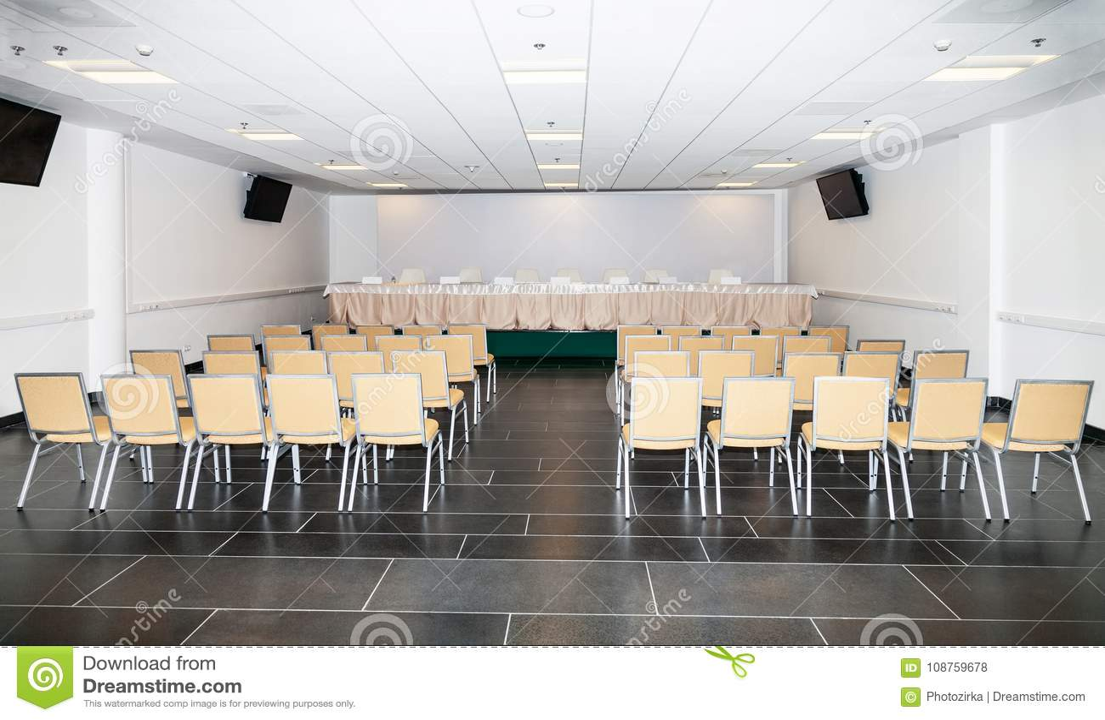 Leerer Raum für die Pressekonferenz