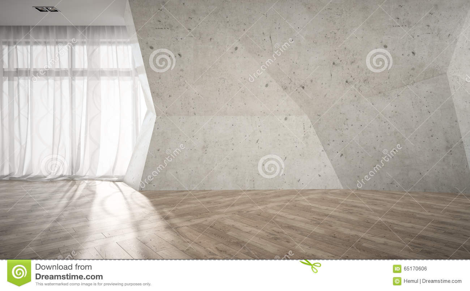 Leerer raum mit defekter wiedergabe der betonmauer 3d stockfoto
