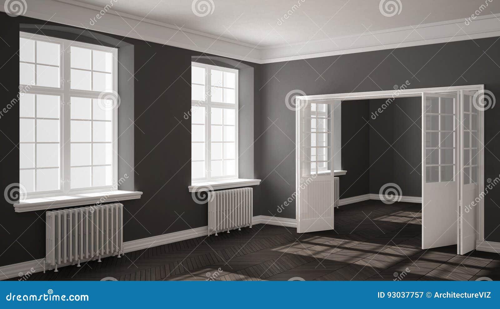 leerer raum mit parkettboden gro en fenstern t ren und heizk rpern stock abbildung. Black Bedroom Furniture Sets. Home Design Ideas