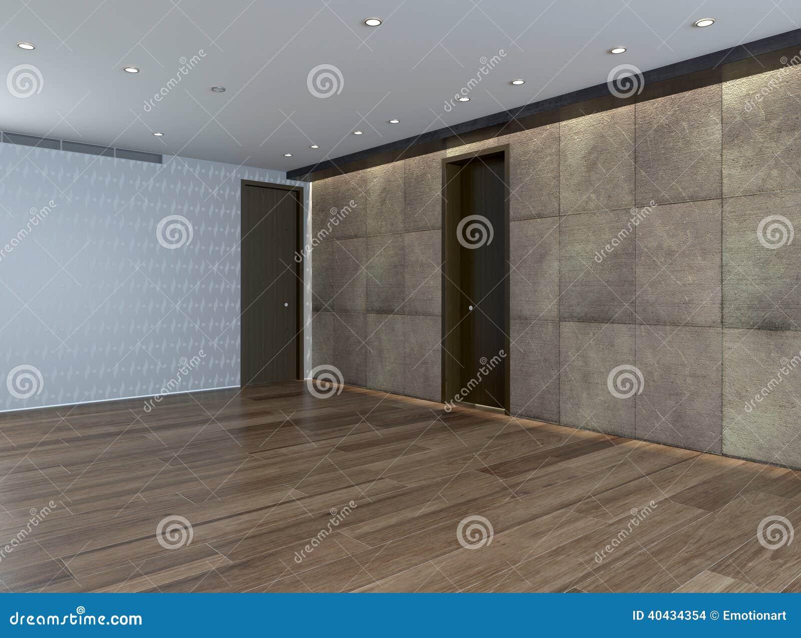 leerer raum mit steinwand und parkettboden stock abbildung. Black Bedroom Furniture Sets. Home Design Ideas
