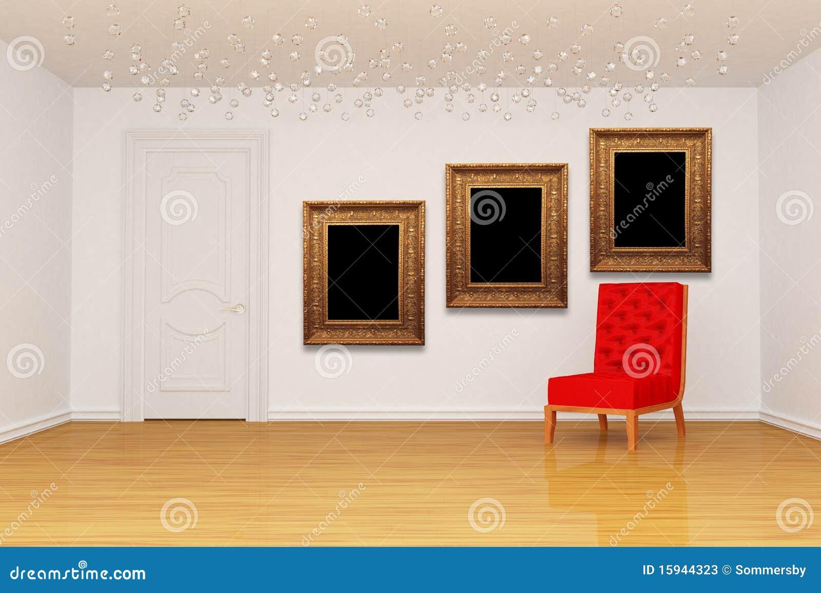Leerer Raum Mit Tür, Rotem Stuhl Und Bilderrahmen Stock Abbildung ...