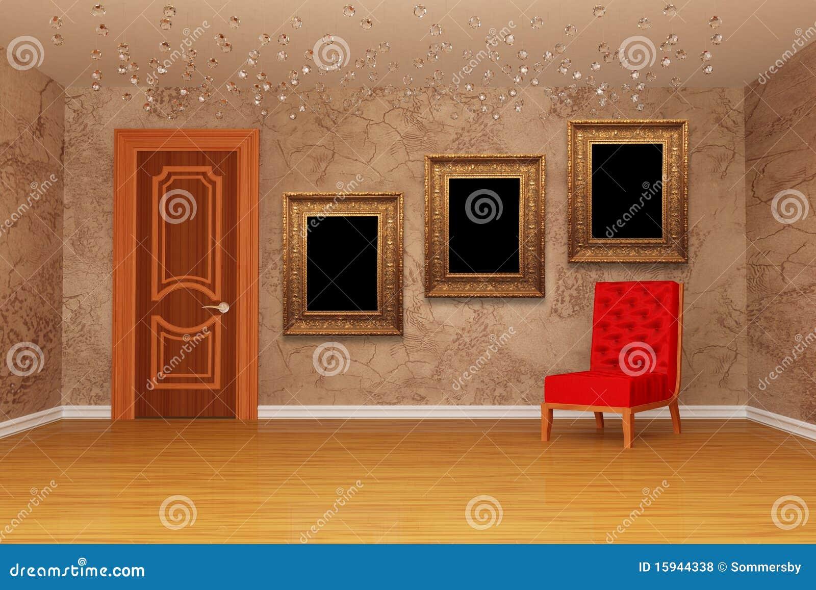 Leerer Raum Mit Tür, Rotem Stuhl Und Feldern Stock Abbildung ...