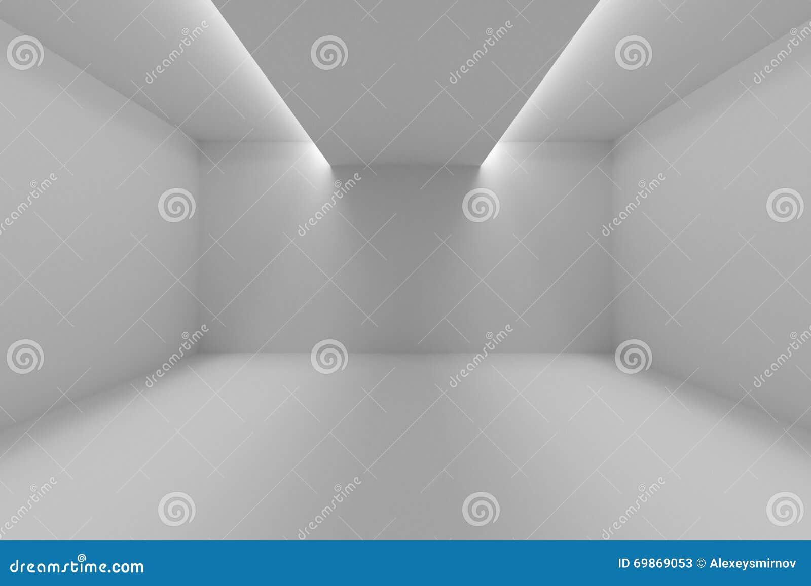 Leerer Raum Mit Weißen Wänden Und Lichtern In Der Decke Stock ...