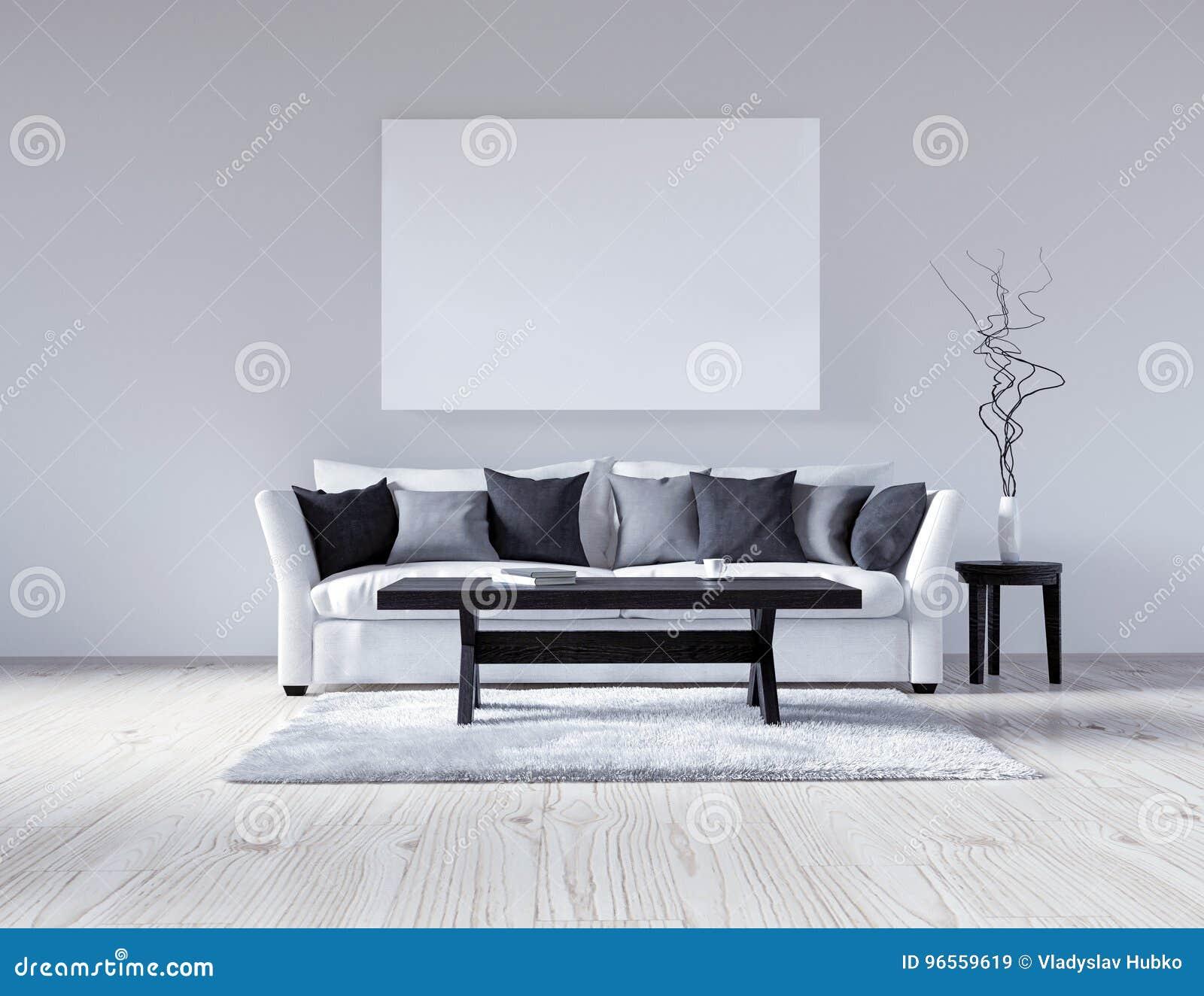 Leerer Weisser Innenraum Der Illustration 3d Mit Sofa Leere Wand