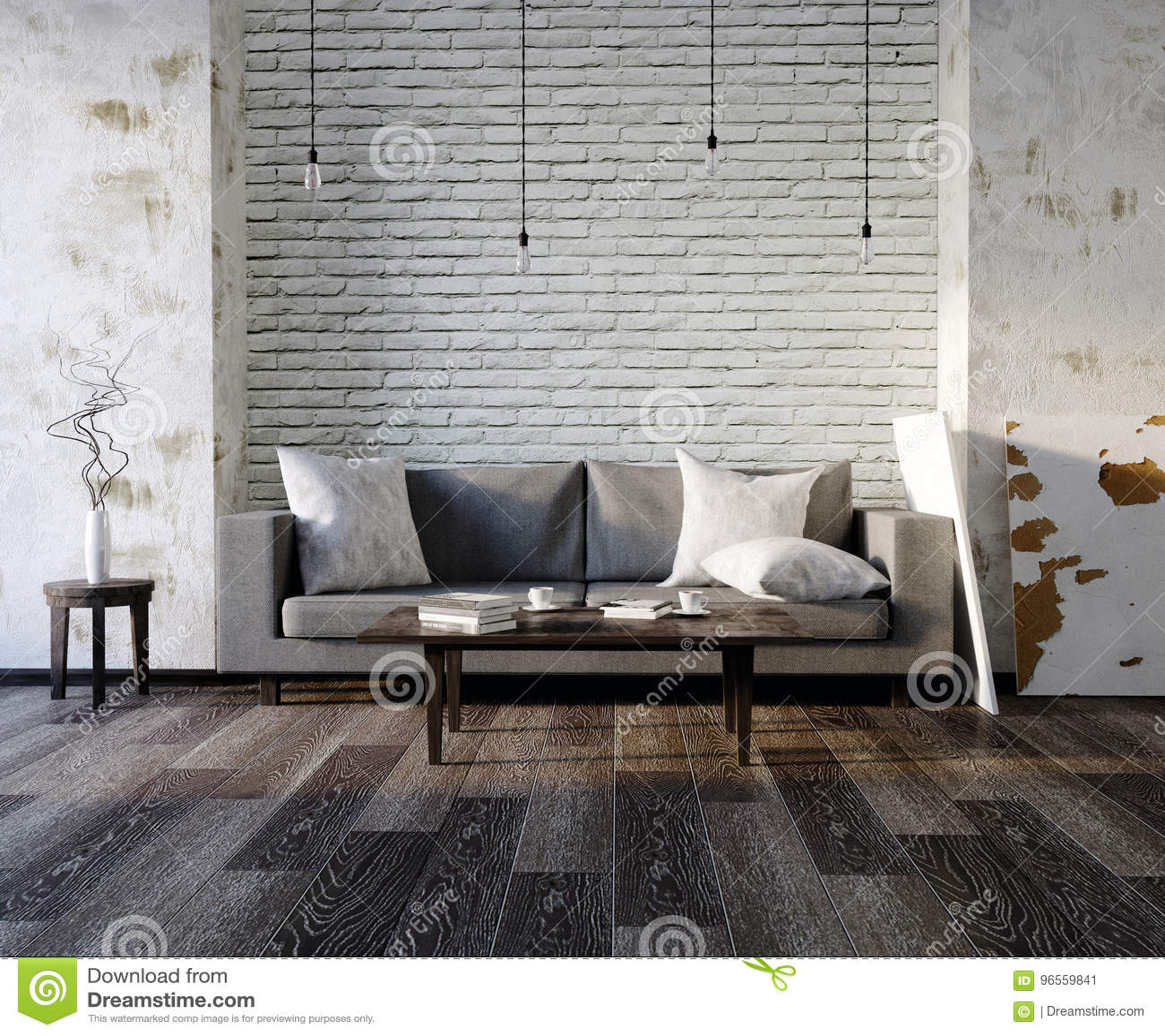 Latest Leerer Weier Innenraum Der D Mit Sofa Leere Wand Wohnzimmer Schwarze  Und Graue Kissen Helles Sofa Flaumiger Teppich With Helles Sofa