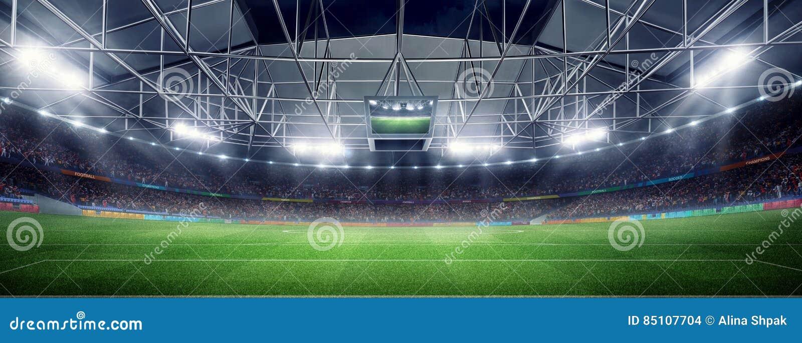Leeres Fussballstadion 3d In Den Hellen Strahlen Nachts
