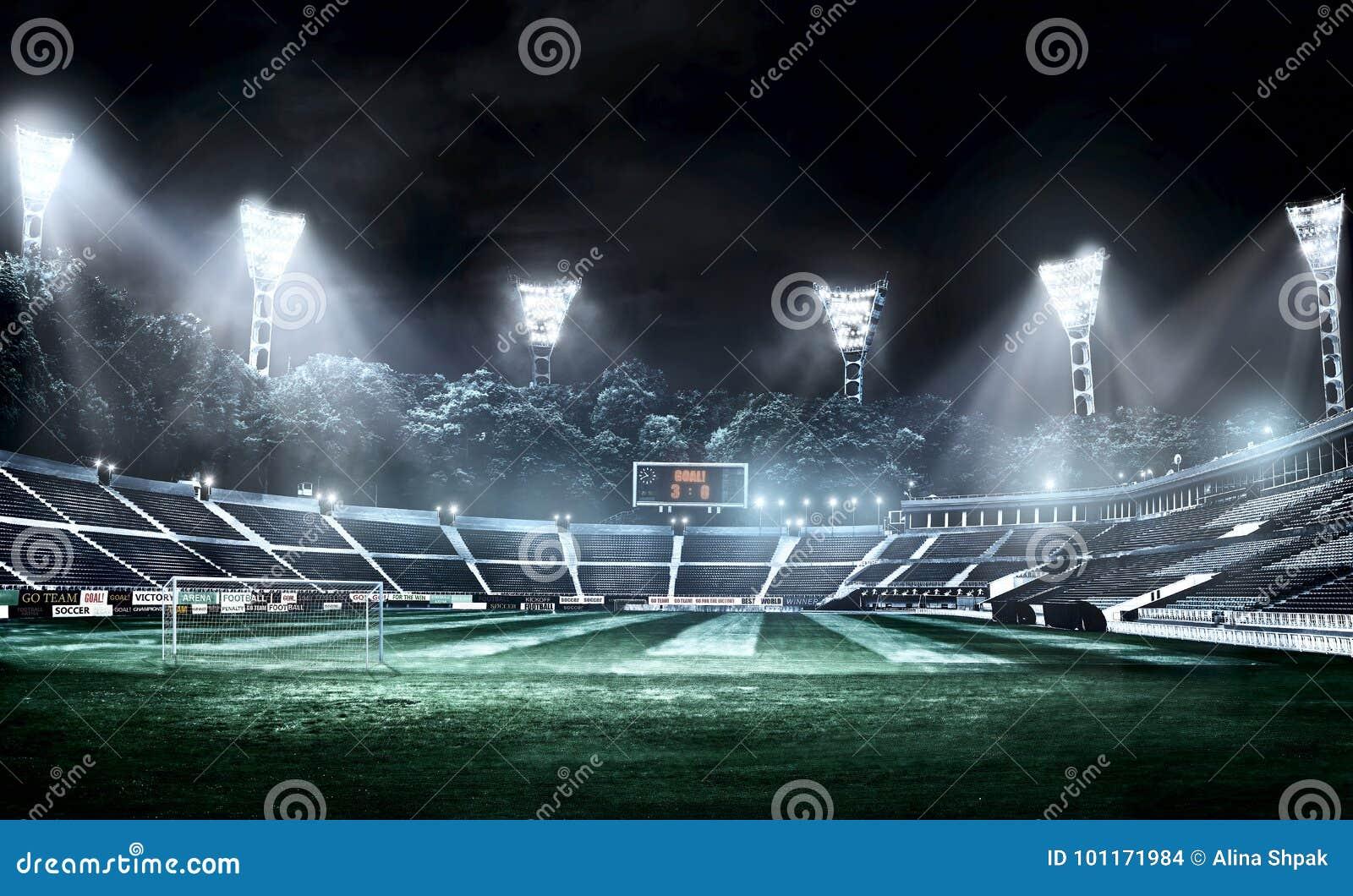 Leeres Fussballstadion In Den Hellen Strahlen Illustration An