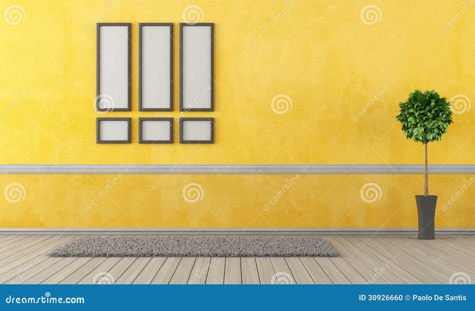 Leeres Gelbes Wohnzimmer Stockfoto