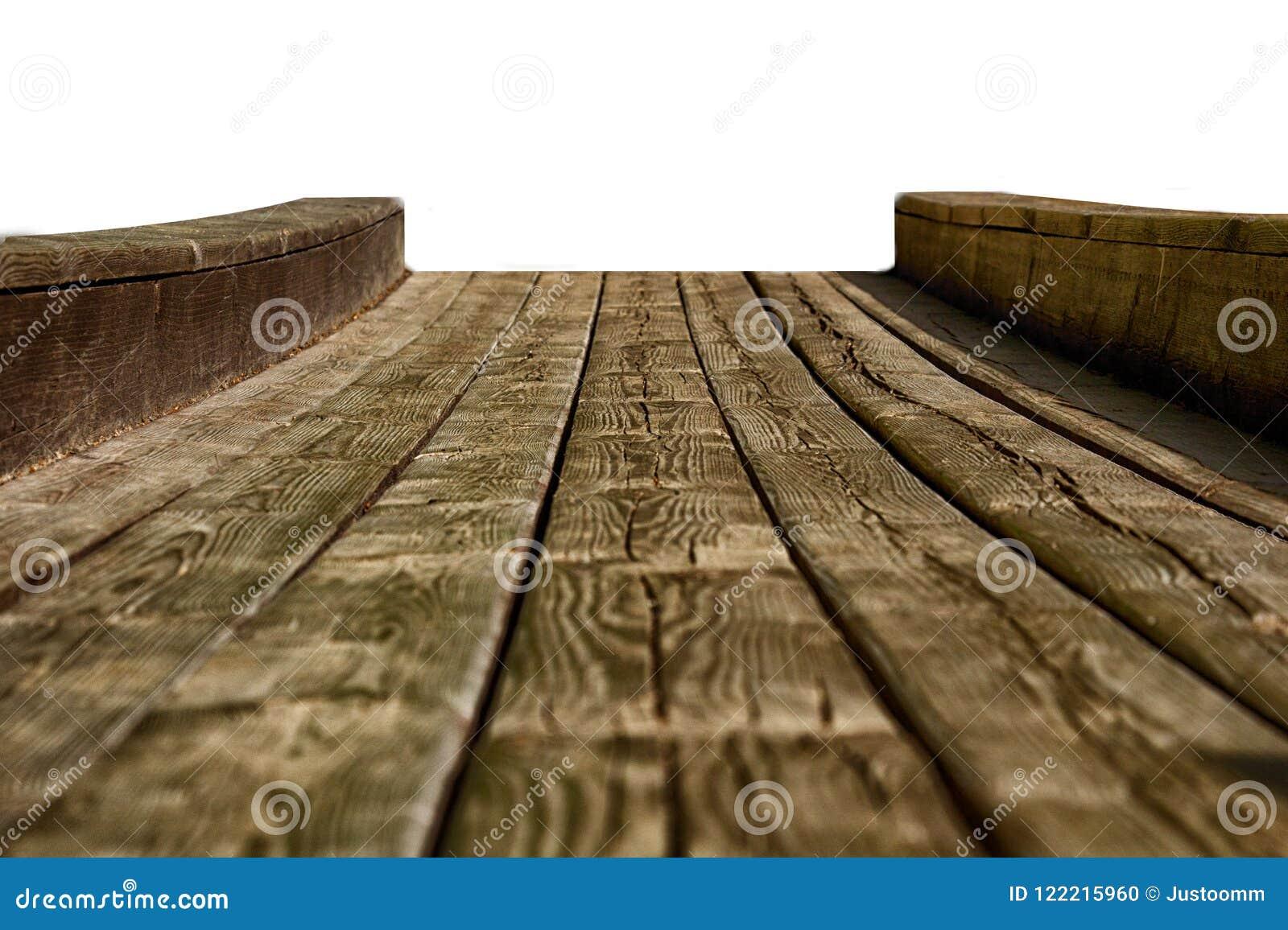 Leeres Holztischspitzen lokalisiert auf dem weißen Hintergrund, benutzt für Anzeige oder Montage Ihre Produkte