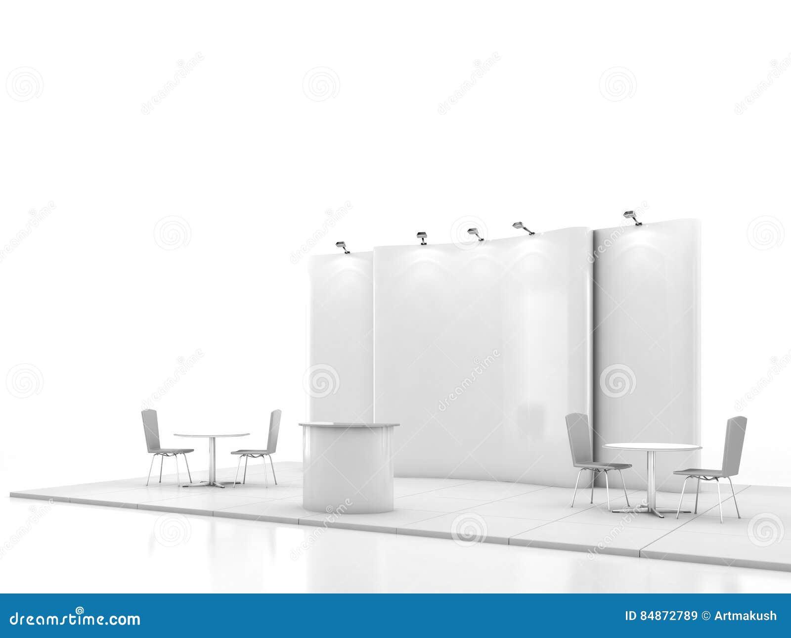 Leeres kreatives Ausstellungsstanddesign mit Farbe formt Standschablone 3d übertragen