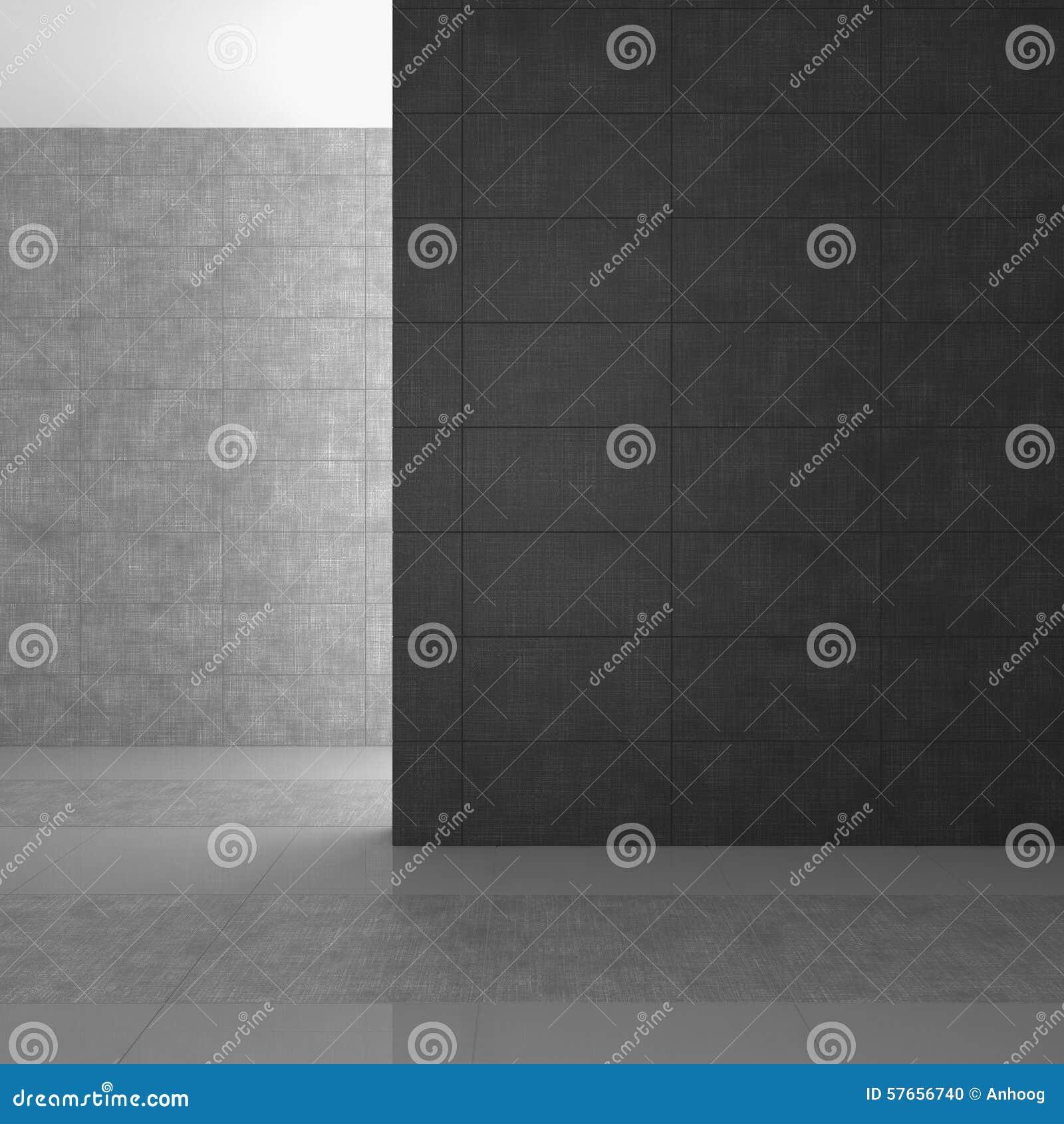 Leeres Modernes Badezimmer Mit Grauen Fliesen Stock Abbildung ...