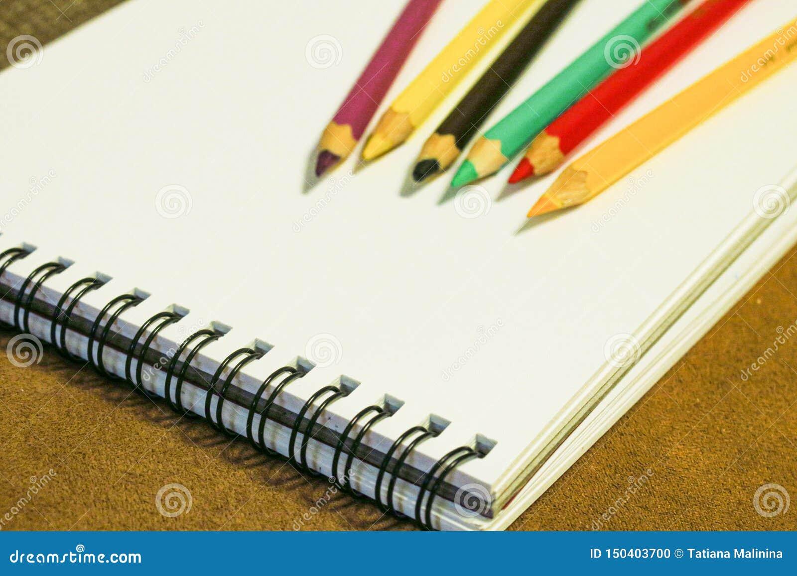 Leeres Notizbuch und bunte Bleistifte auf braunem Hintergrund, malendes Material