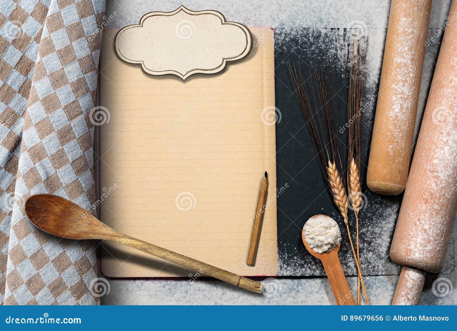 leeres rezept buch auf einem backen hintergrund stockfoto bild von liste leer 89679656. Black Bedroom Furniture Sets. Home Design Ideas