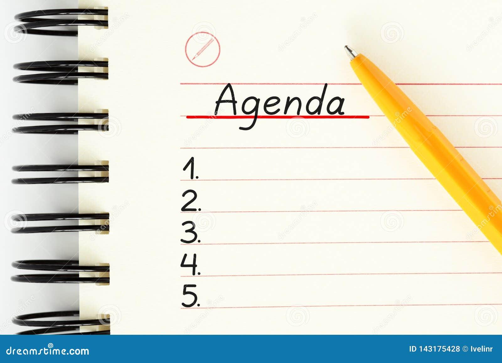 Leeres Tagesordnungs-Planer-Listen-Konzept
