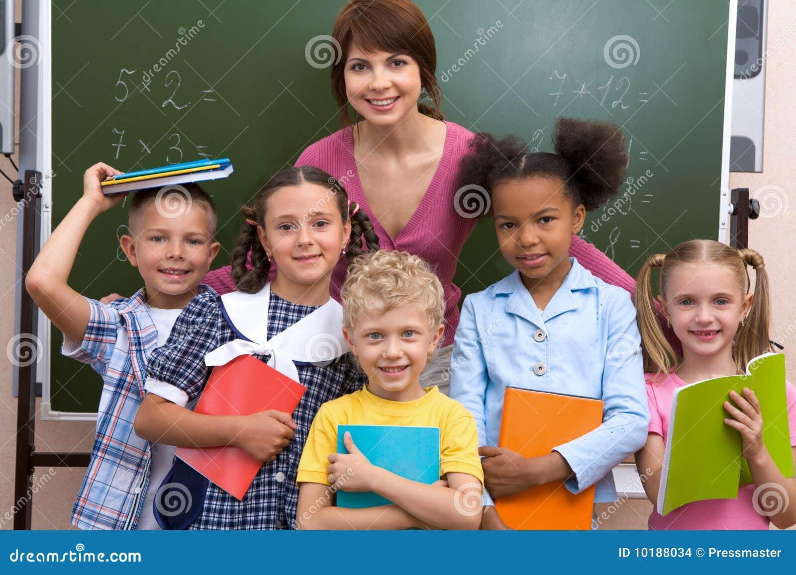 Leerlingen en leraar